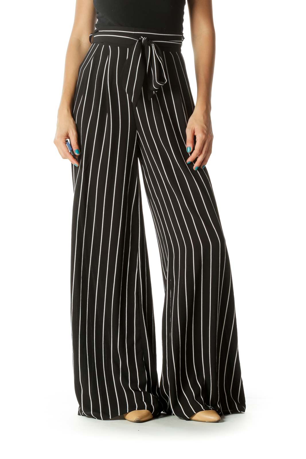 Black & White Waist Tie Zippered Wide-Leg Pants