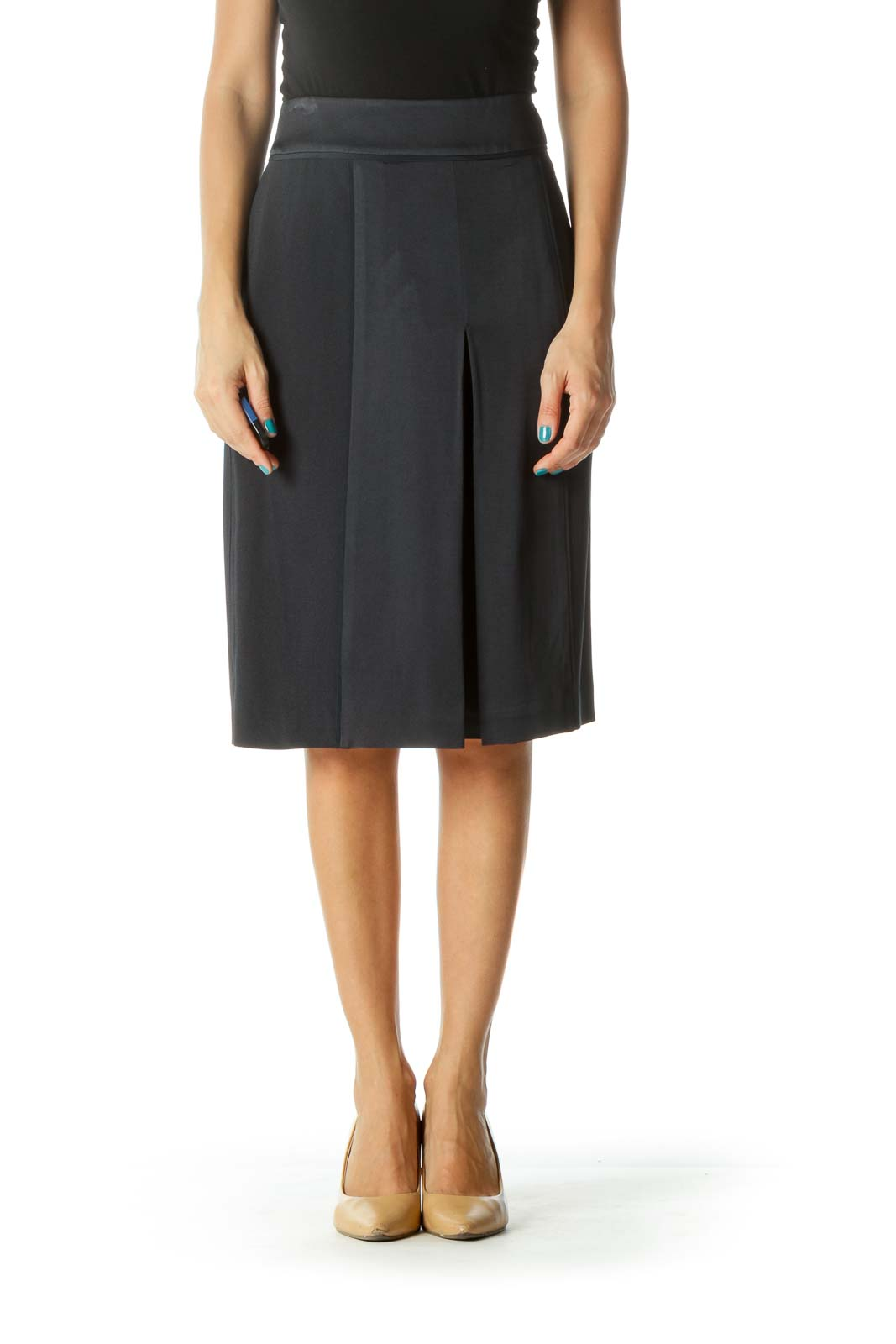 Navy Pleated Pocketed Skirt