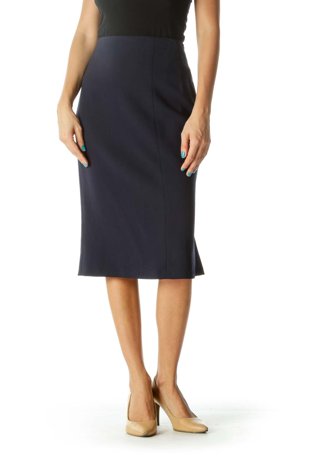 Navy Pleated Zippered Pencil Skirt