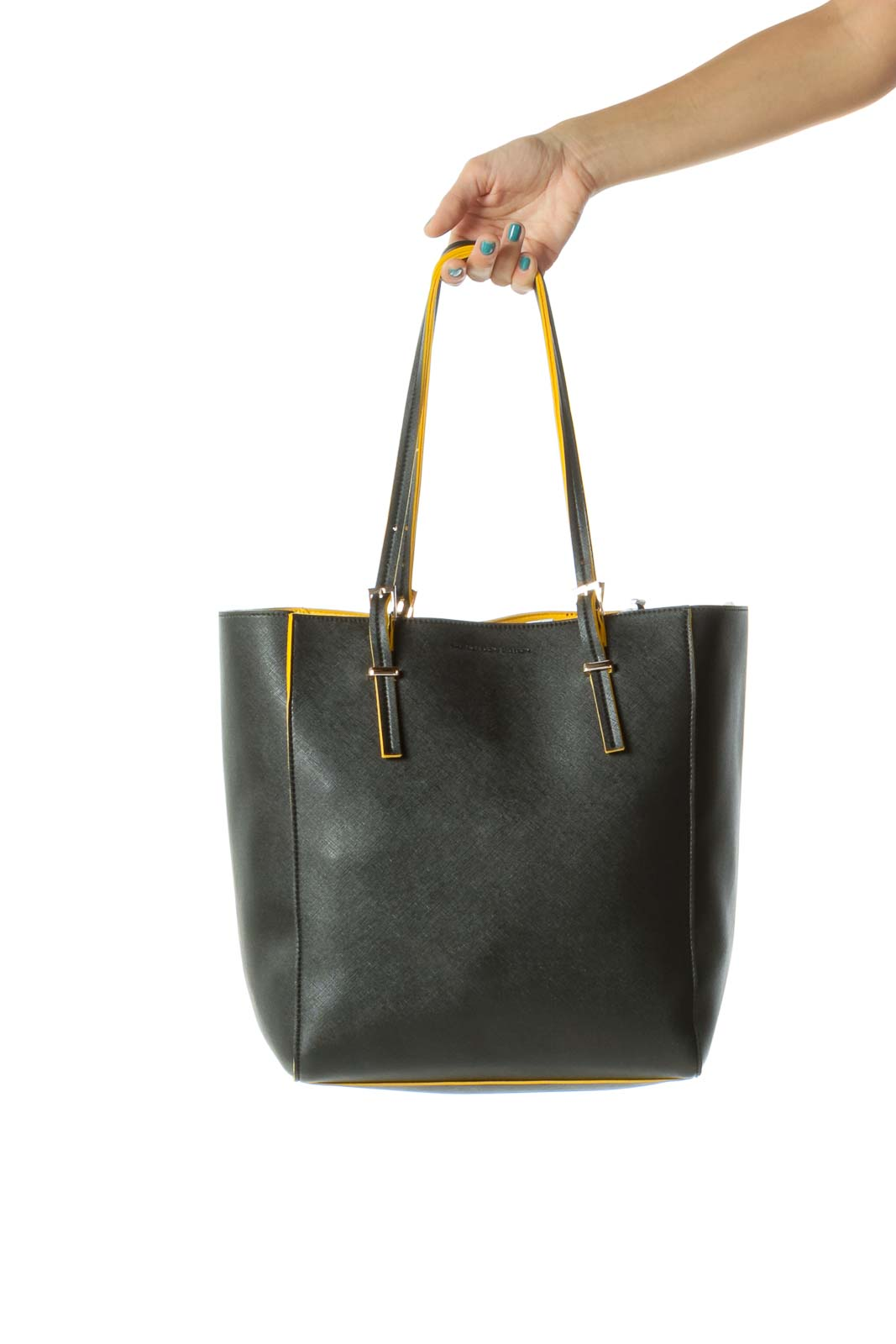 Black  & Yellow Contrast Piping Gold Hardware Tote