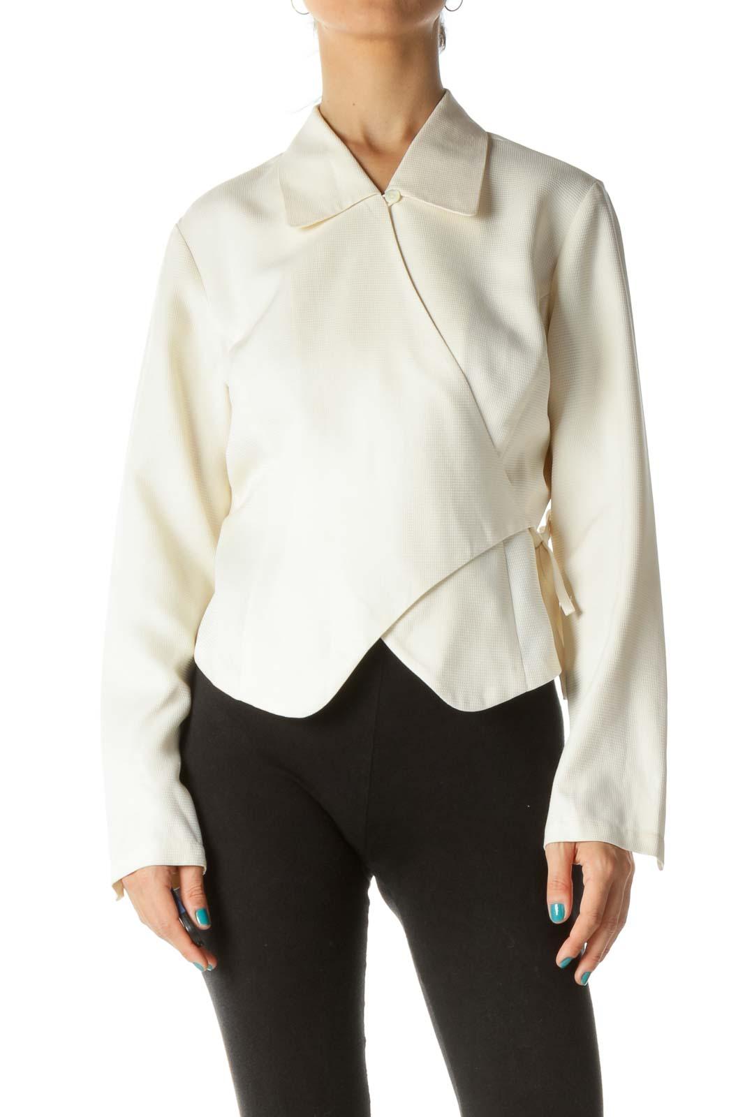 Cream 100% Silk Collared Wrap Blouse