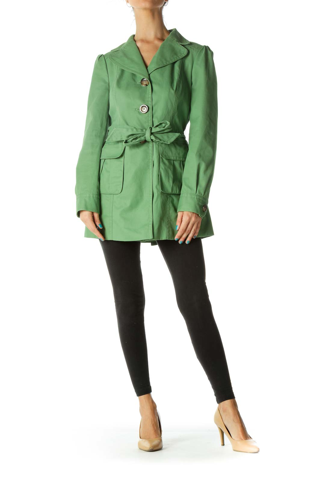 Green Waist Tie Pocketed Trench Coat
