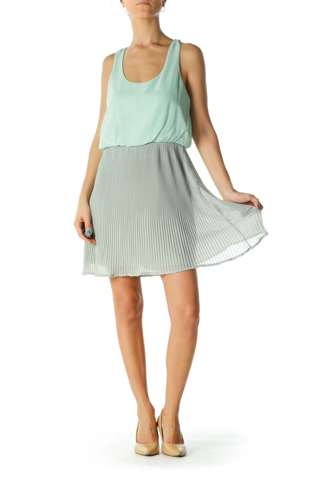 Green & Gray Round Neck Pleated Day Dress