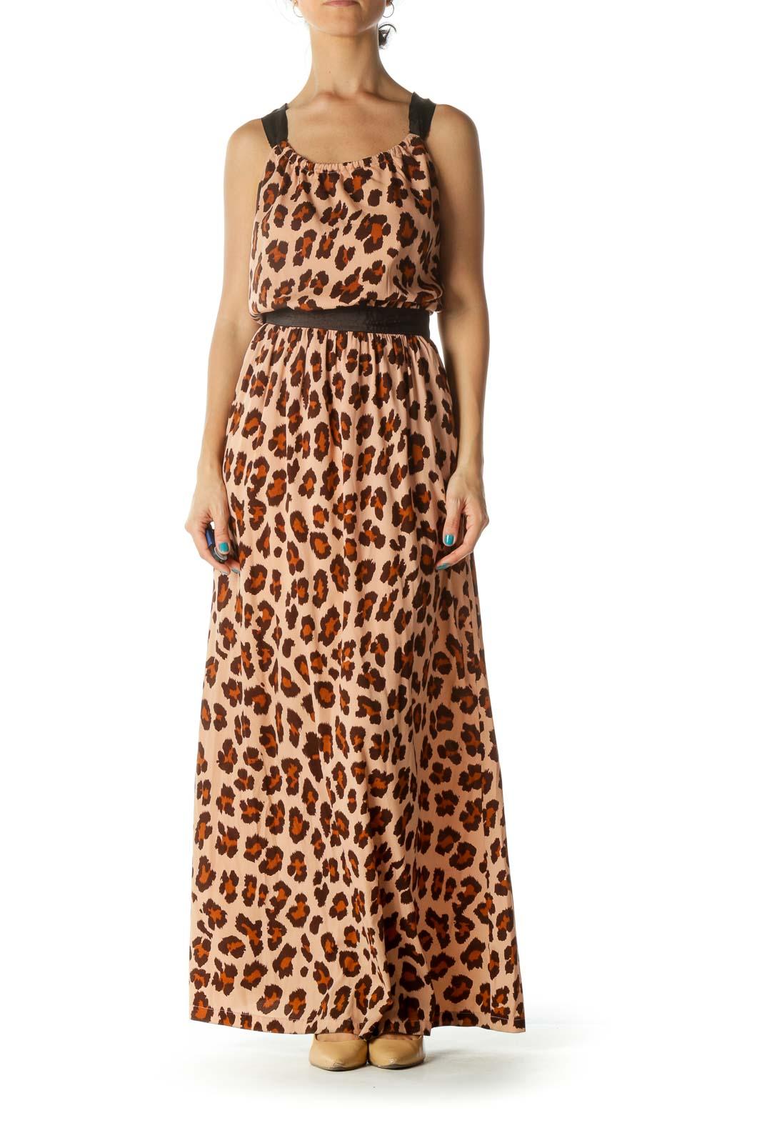 Brown and Orange Animal Print Maxi Dress
