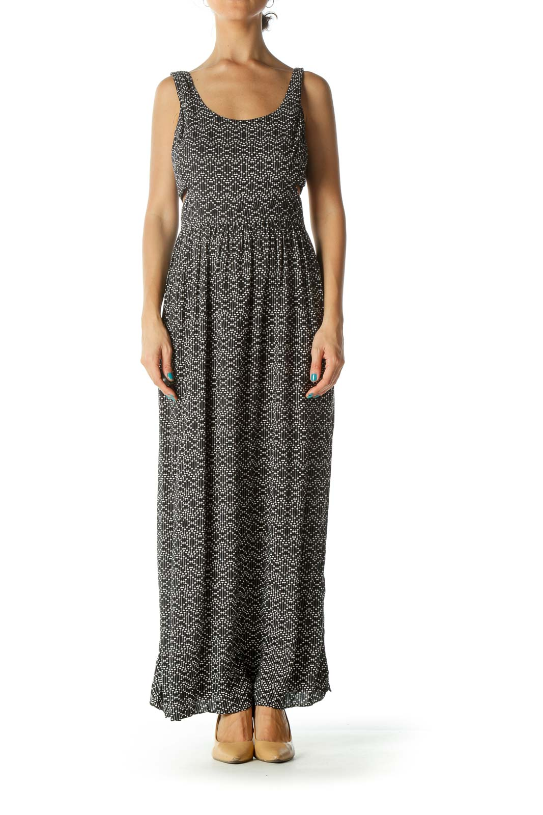 Black and White Print Cut-out Maxi Dress