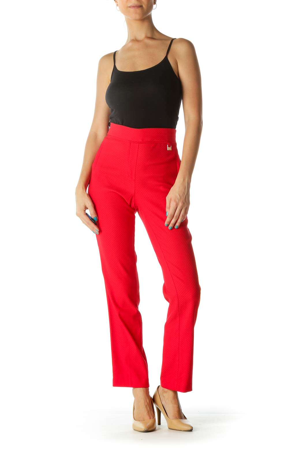 Red Slim Fit Stretchy Pants