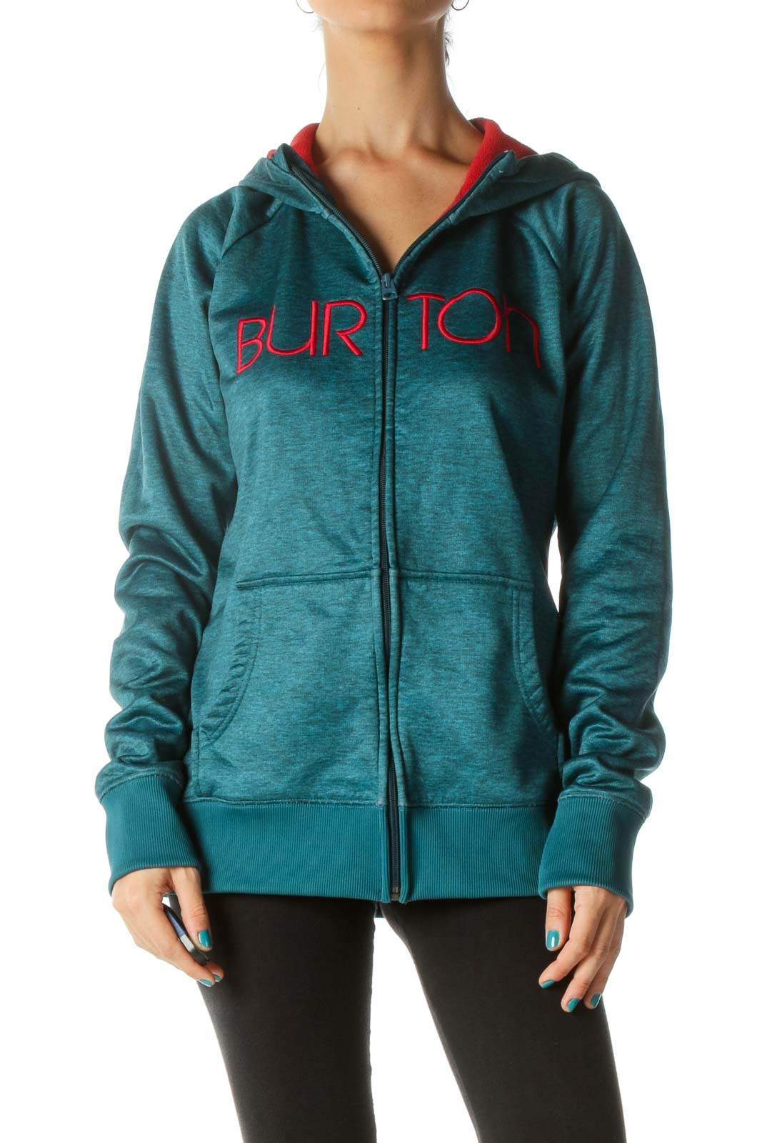 Emerald Green Red Soft-Feel Zip-Up Jacket