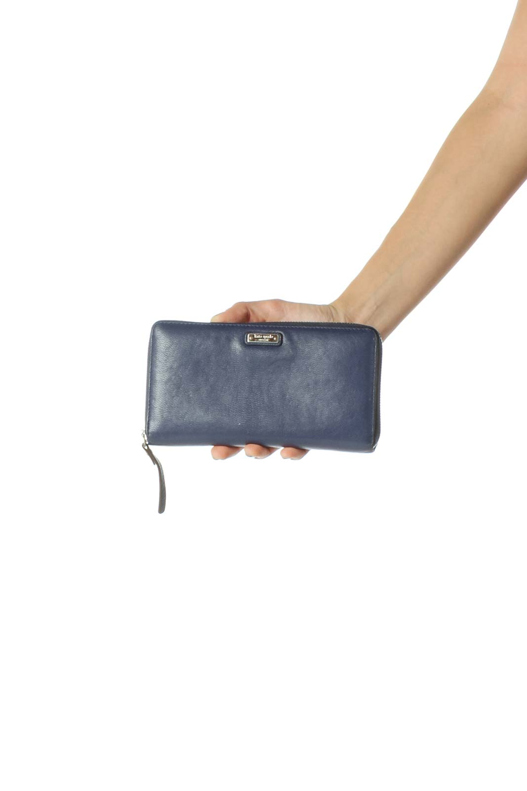 Blue Slim Wallet with Gold Zipper