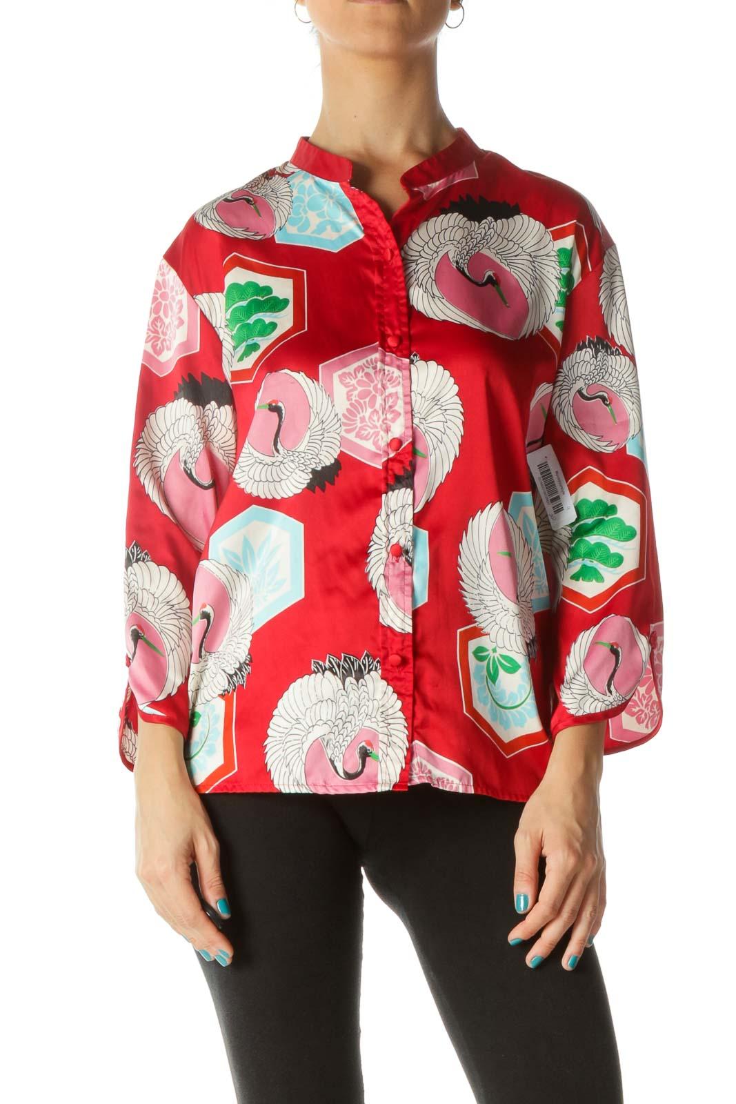 Red Blue Pink Bird Print Soft Shirt