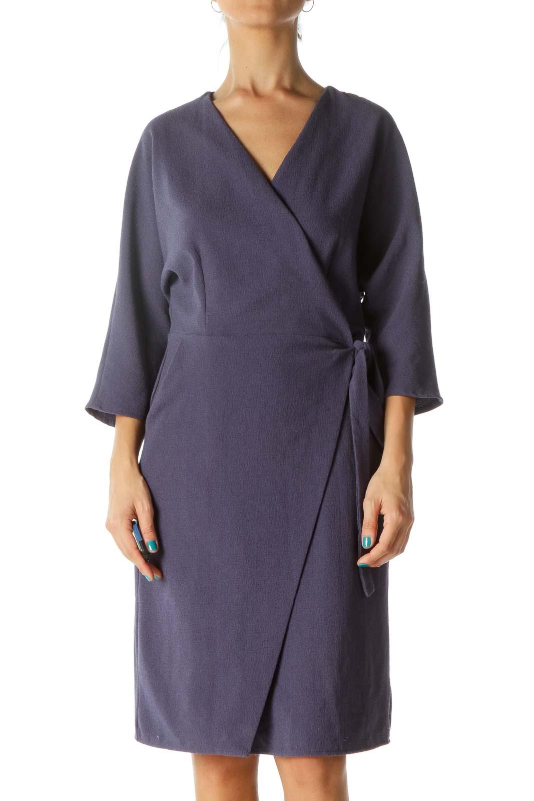 Blue Wrap Textured 3/4 Sleeve Dress