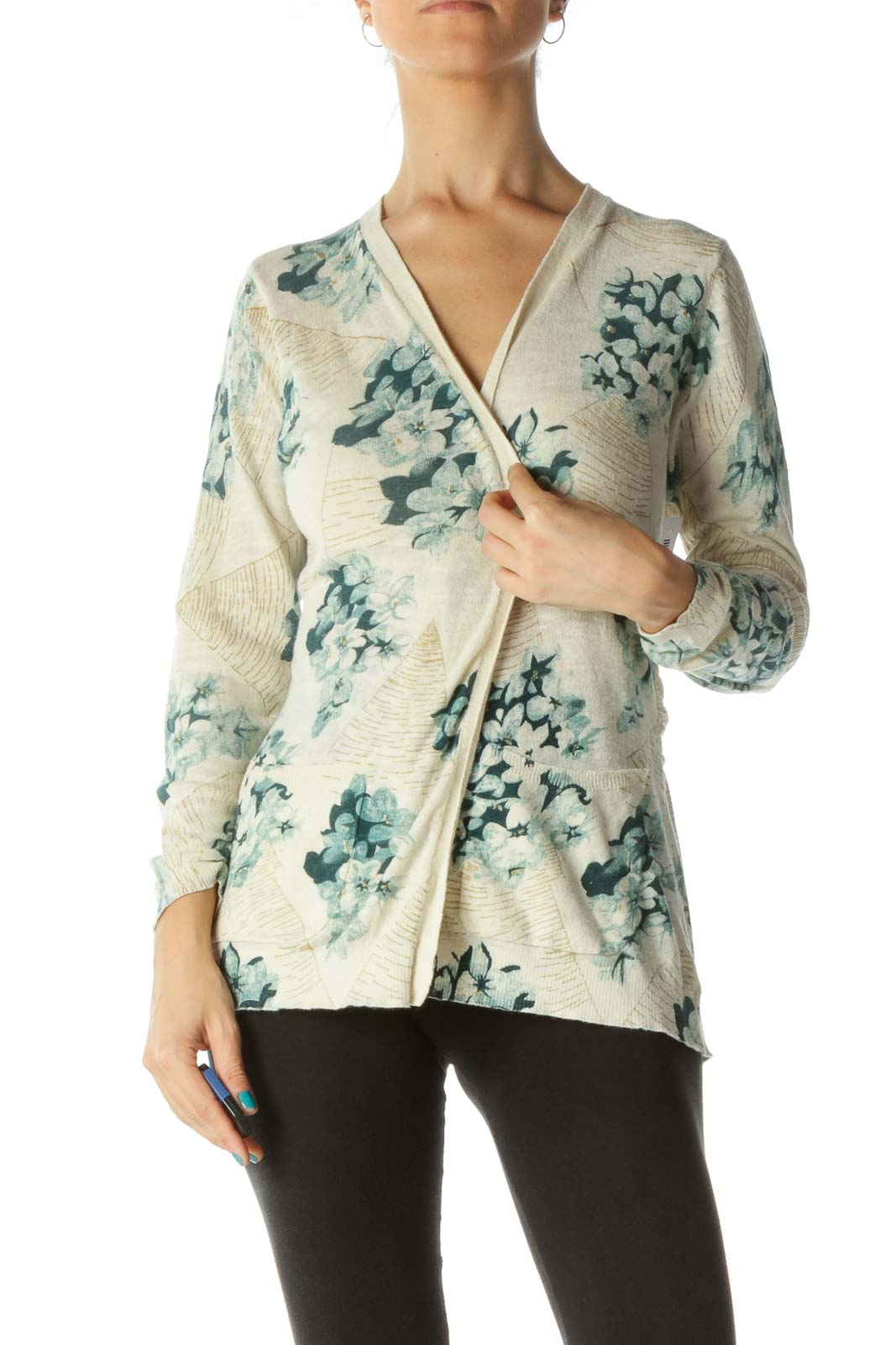 Green Beige Gold-Textured Back Detail Pocketed Cardigan