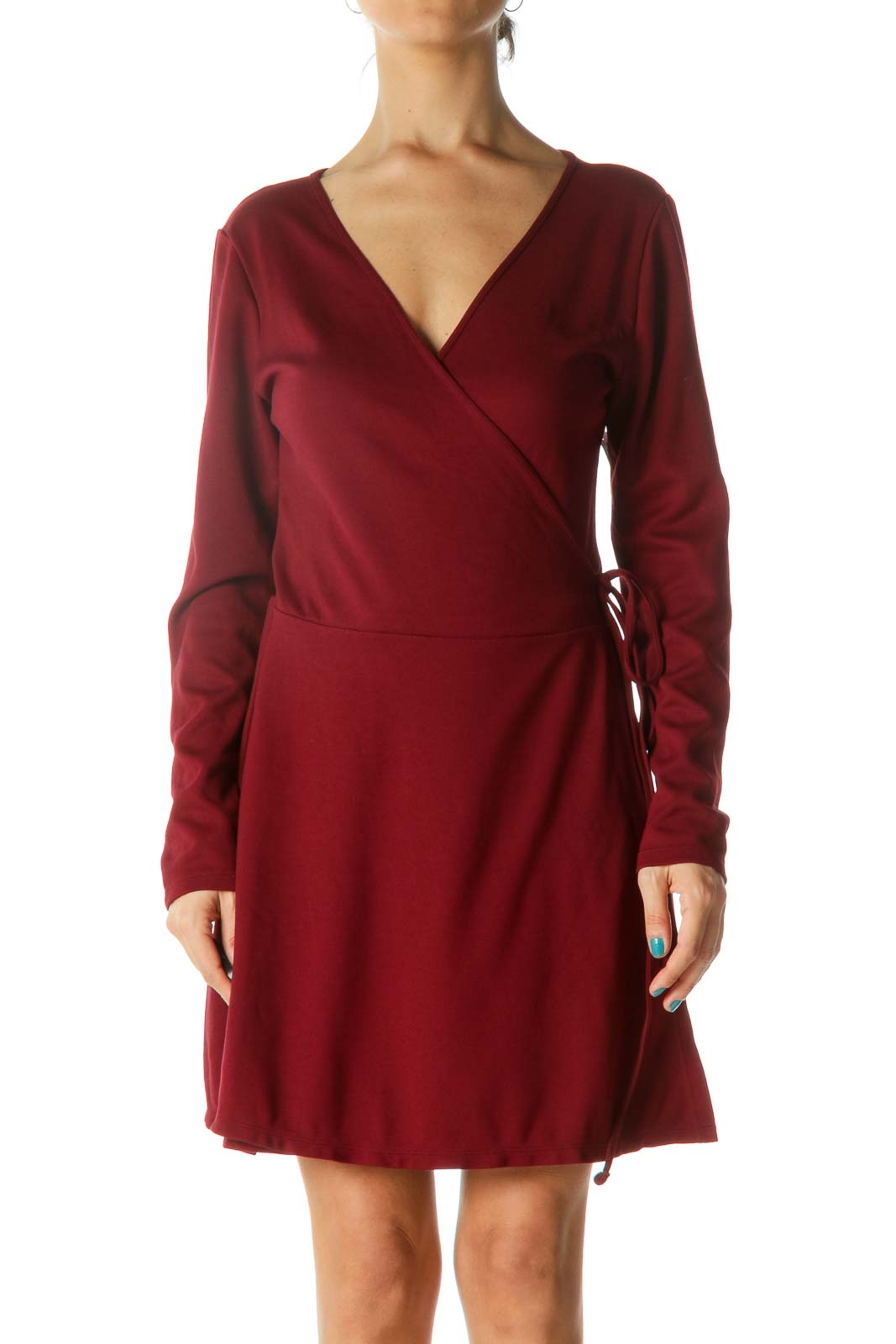 Dark Red Wrap Long Sleeve Dress