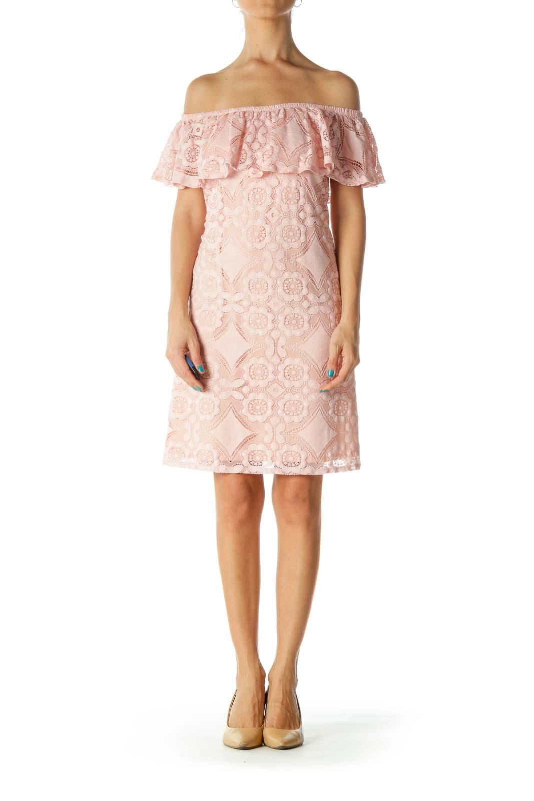 Pink Off-Shoulder Lace Dress
