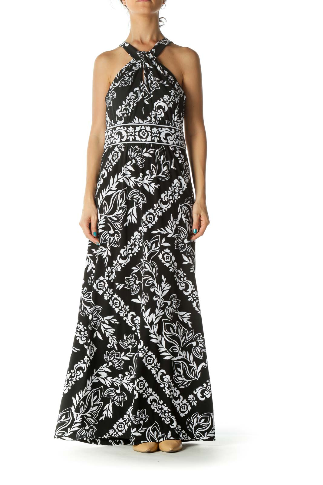 Black White Floral Print Keyhole Maxi Dress
