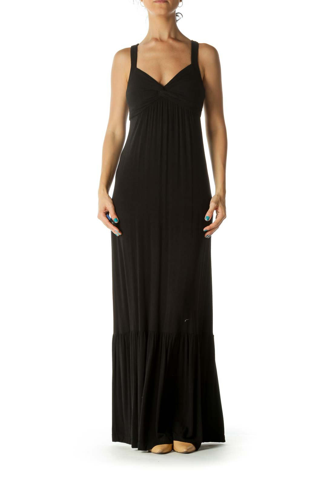 Black Flared Stretch Maxi Dress