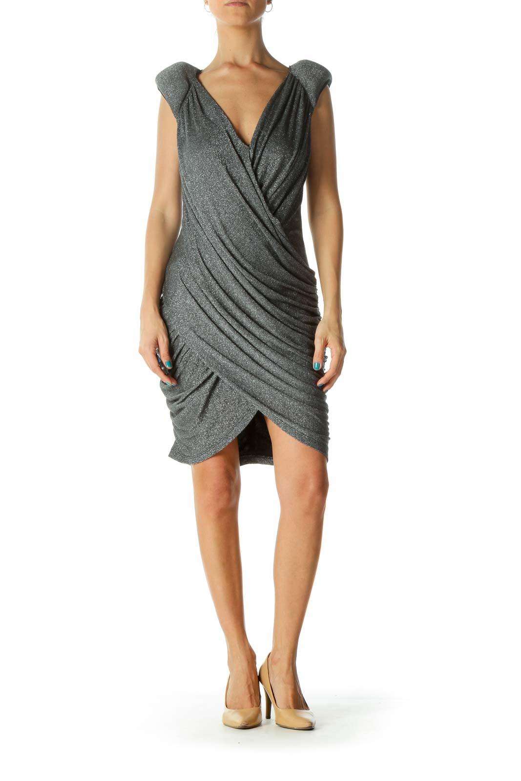 Silver Black Scrunched V-Neck Dress