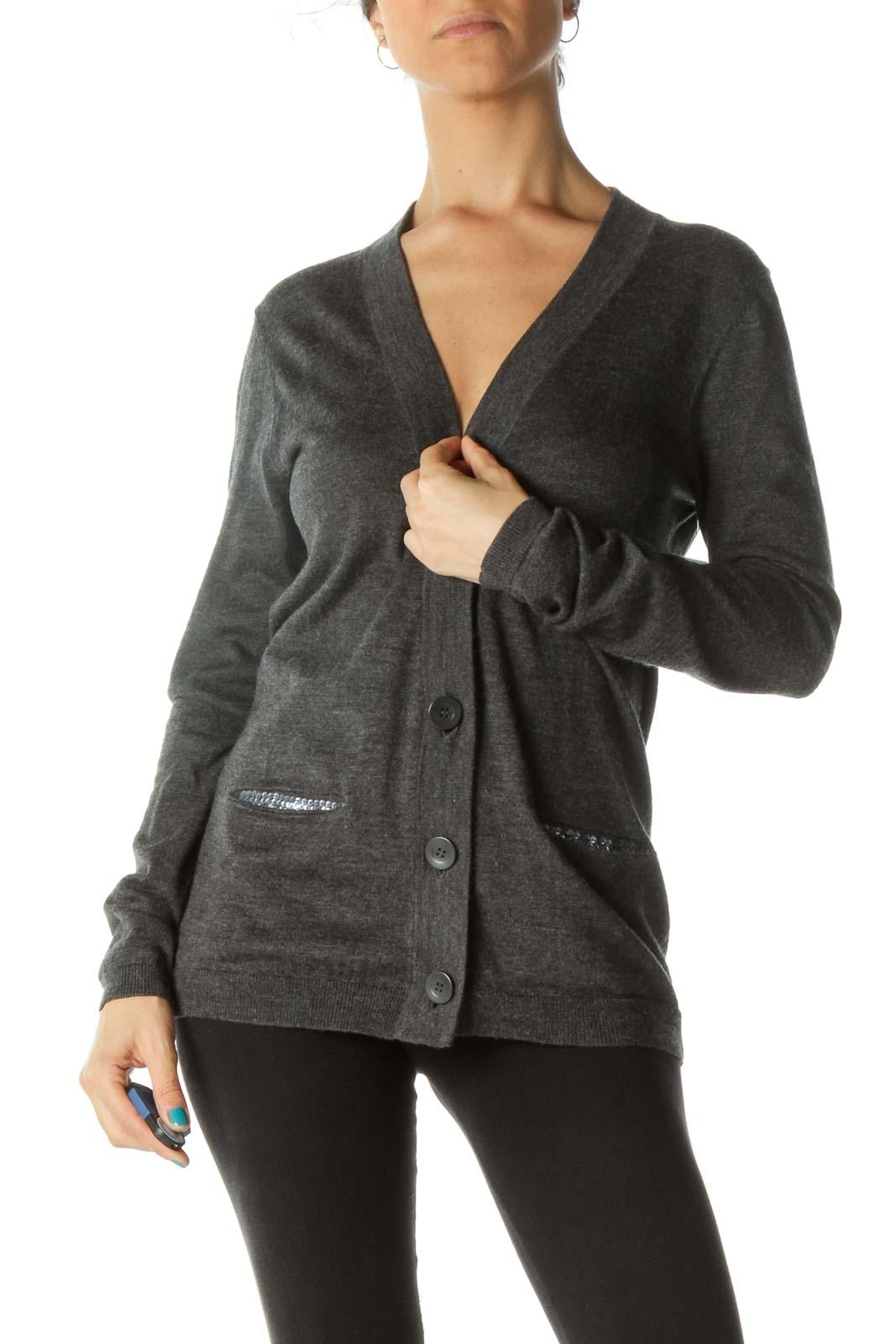 Gray Silver Pocket Sequin Merino Wool Blend Cardigan