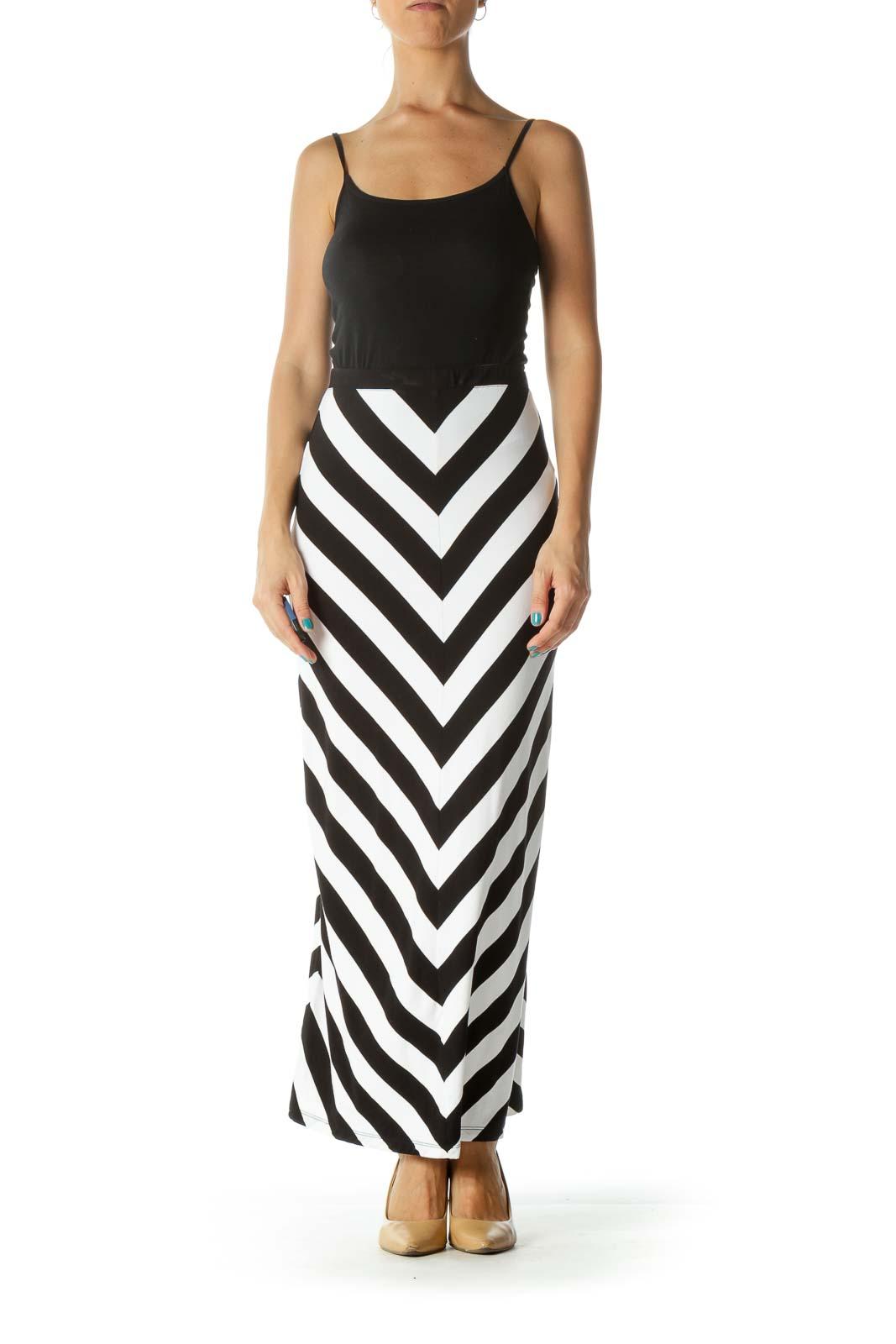Black White Chevron Print Maxi Skirt