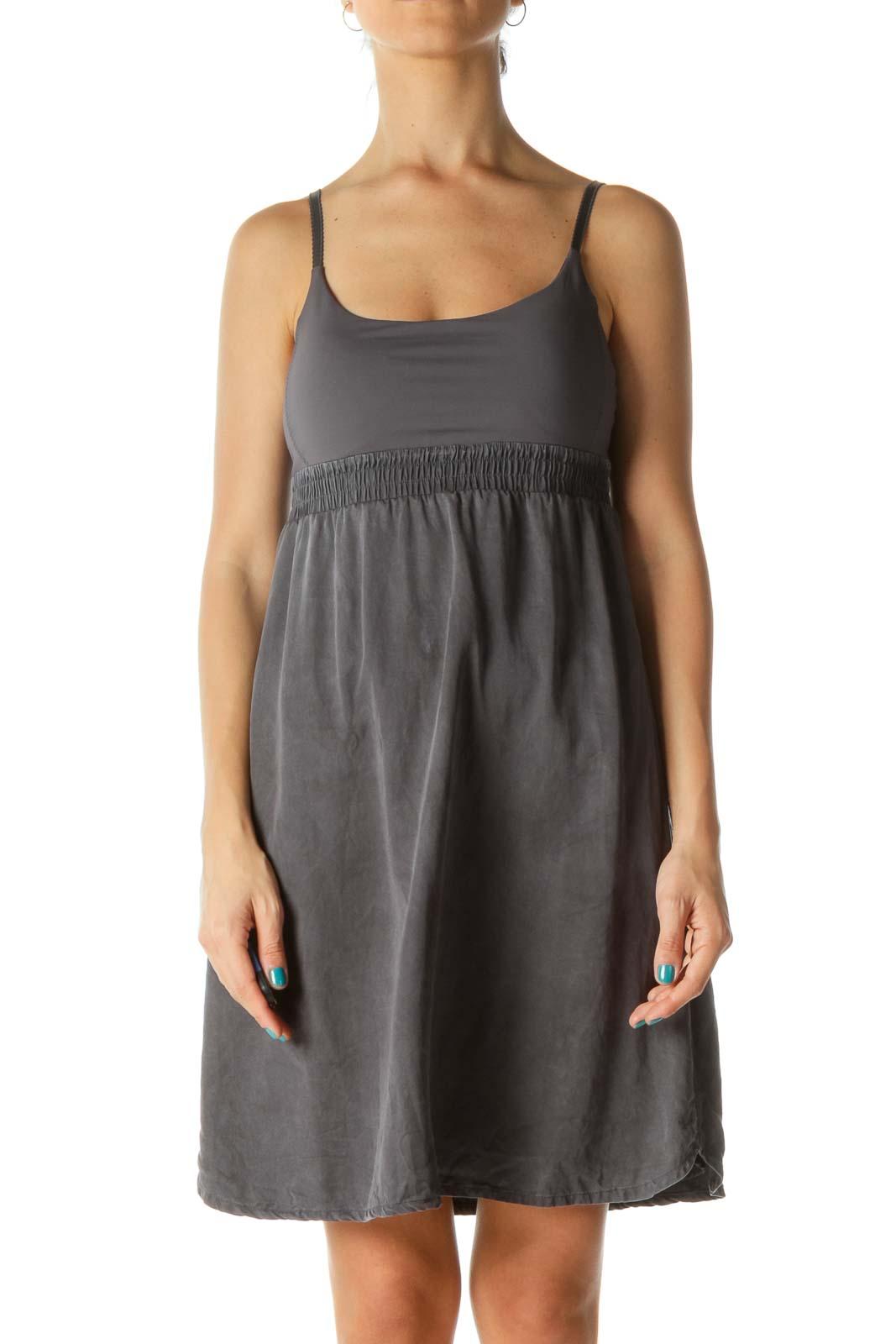 Gray Mixed Media Stretch Active Dress