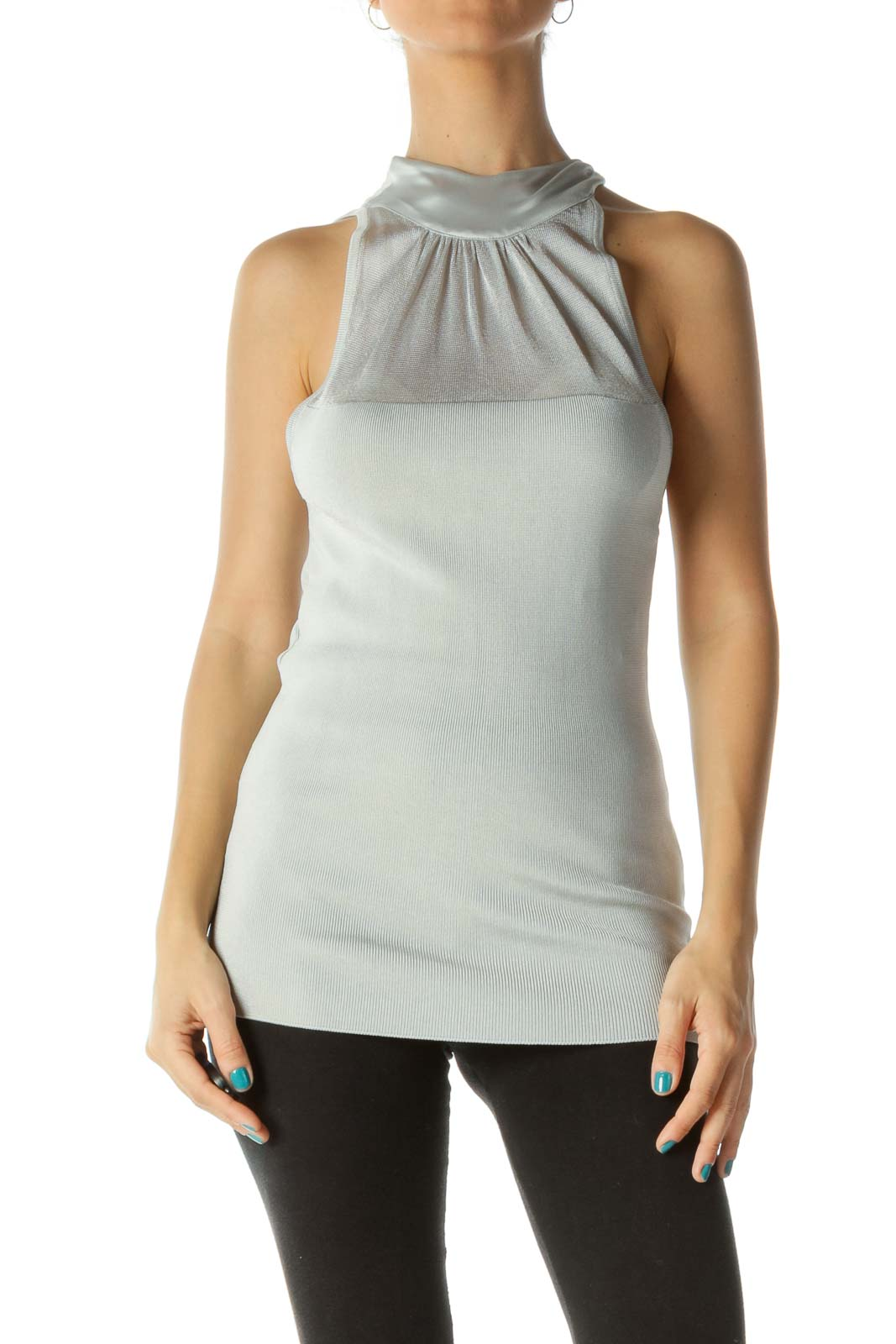 Silver Knit Mixed Media Neck Knot Top