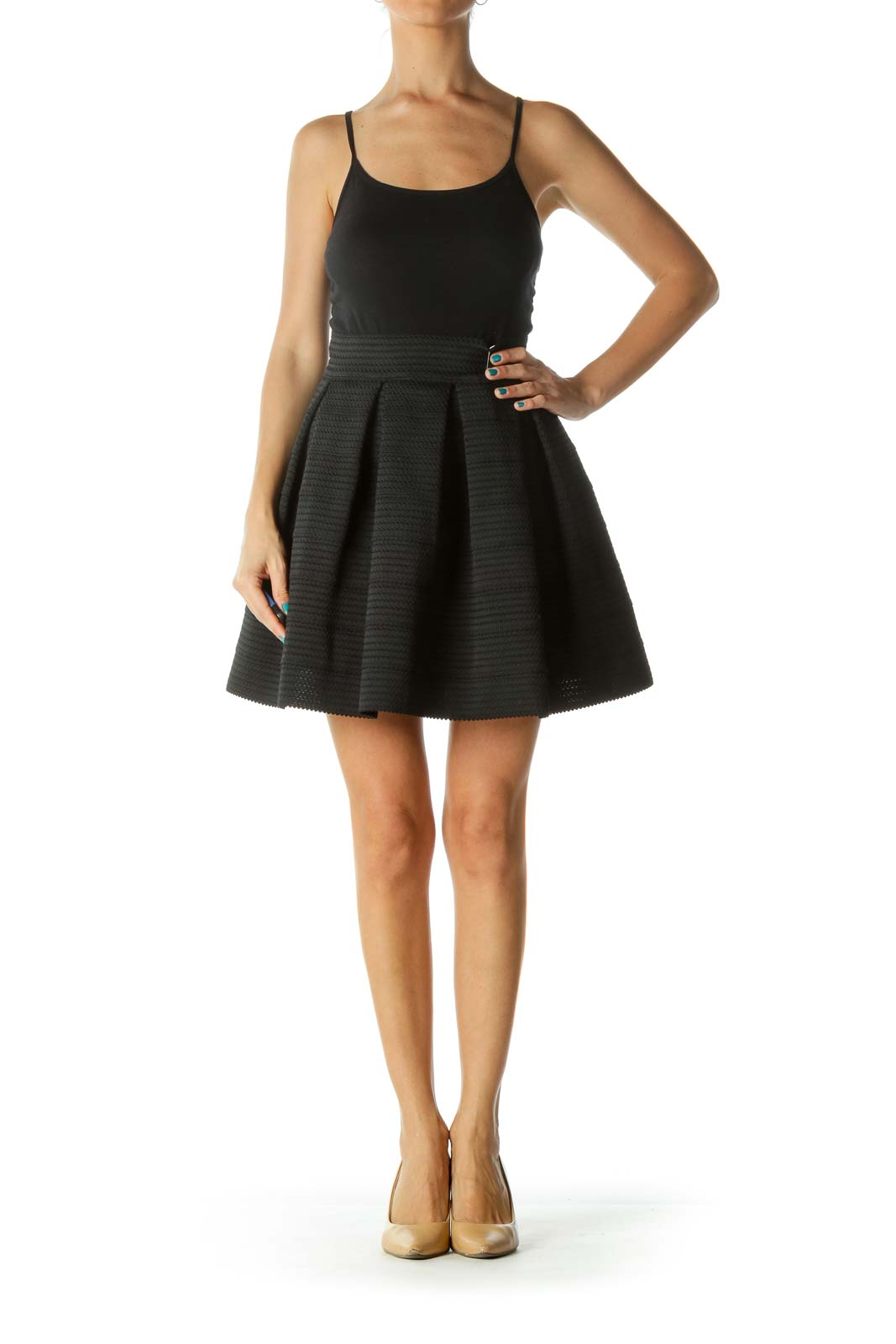 Black Structured Stretch Pouf Skirt
