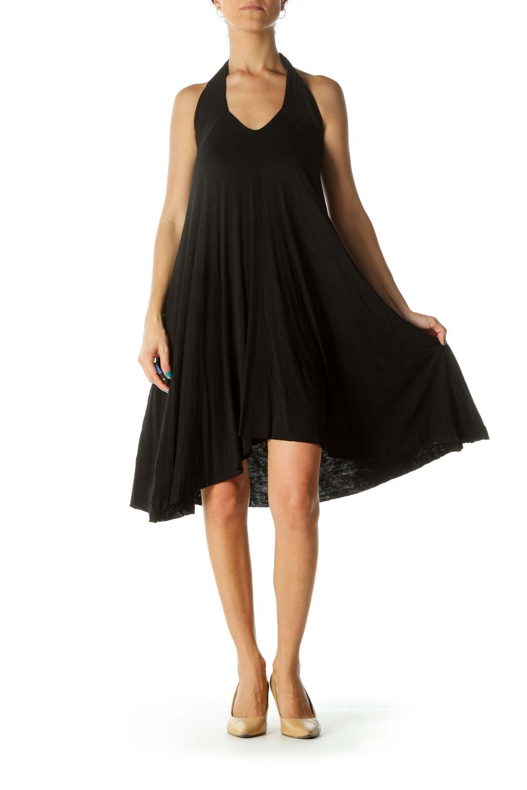 Black Stretch Flared Dress