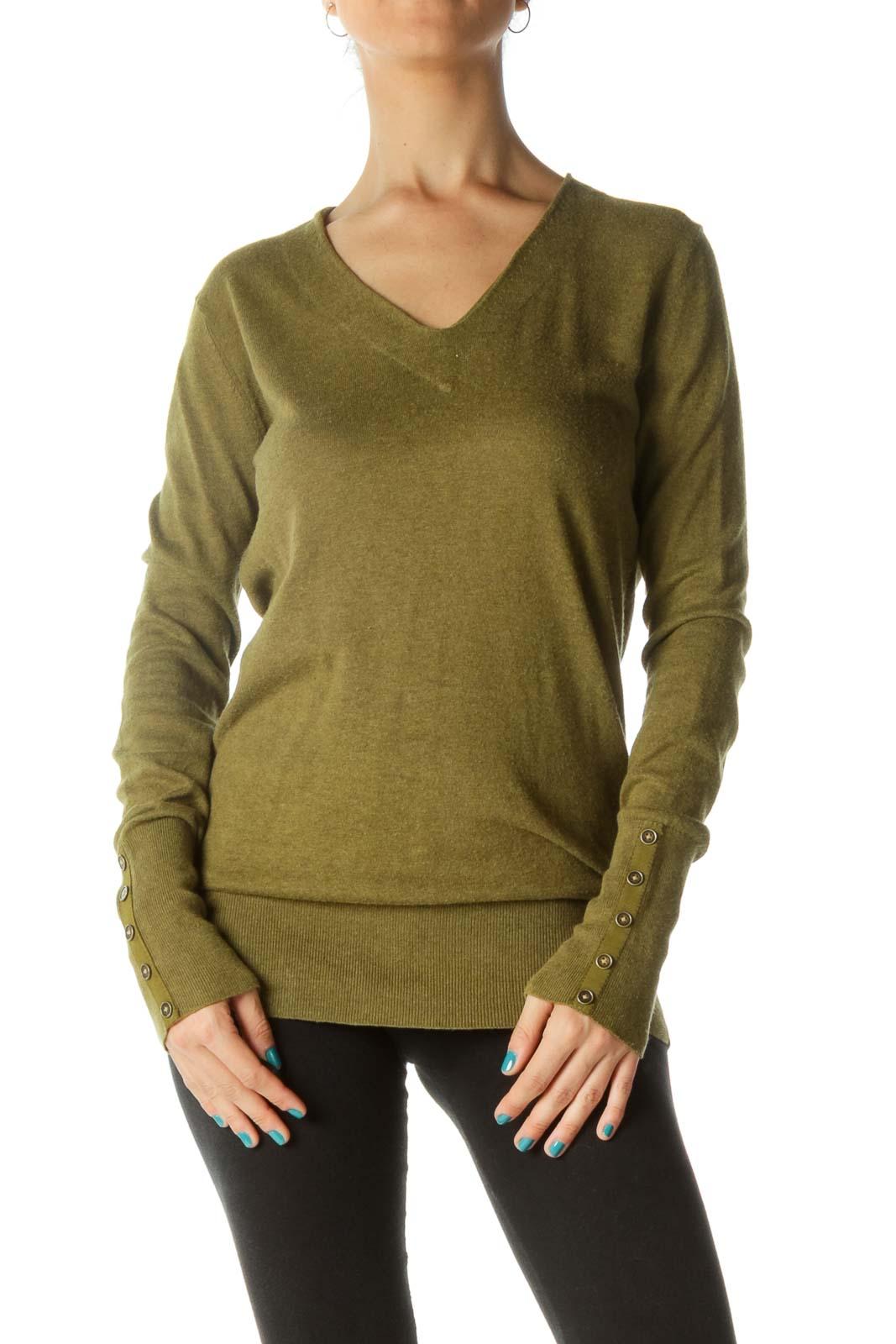 Green V-Neck Wrist Buttons Silk Pullover Sweater