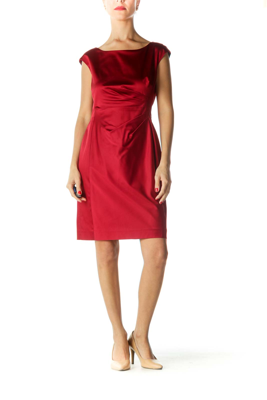 Red Satin Pleated Cocktail Dress
