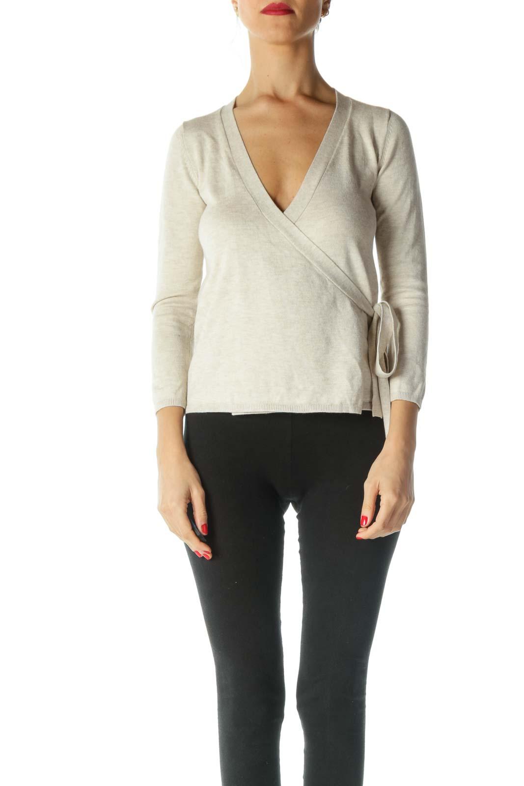 Beige Long Sleeve Wrap Knit Sweater
