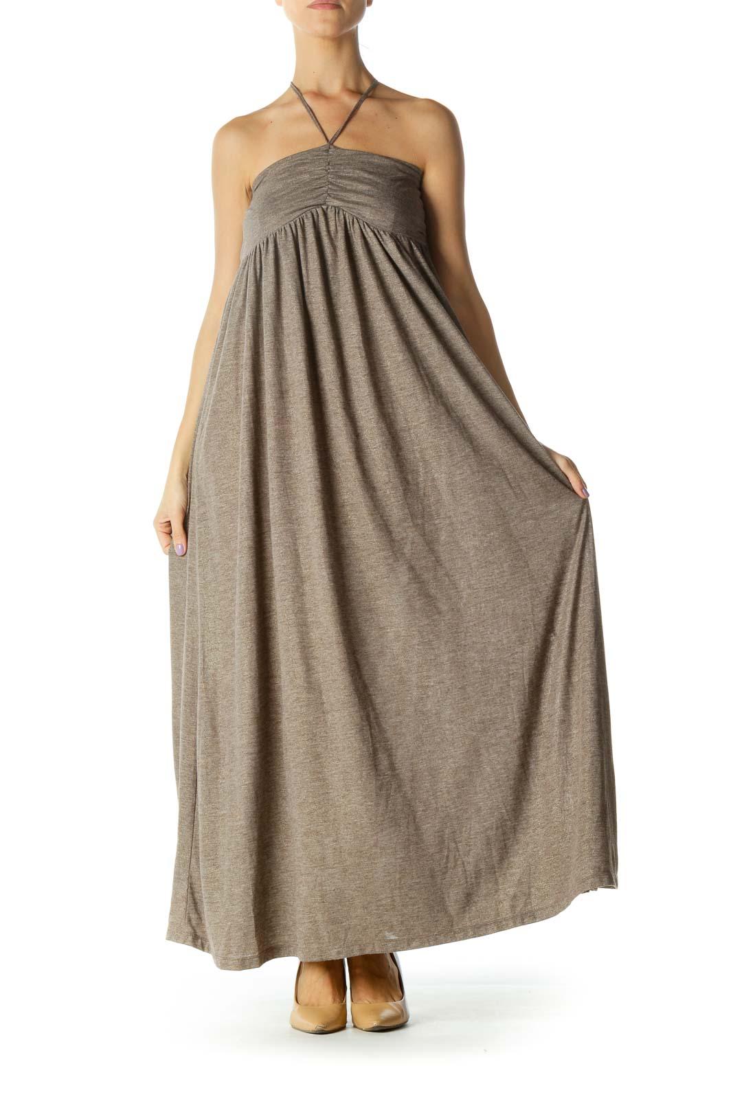 Beige Gold Sparkle Strapless Jersey-Knit Day Dress