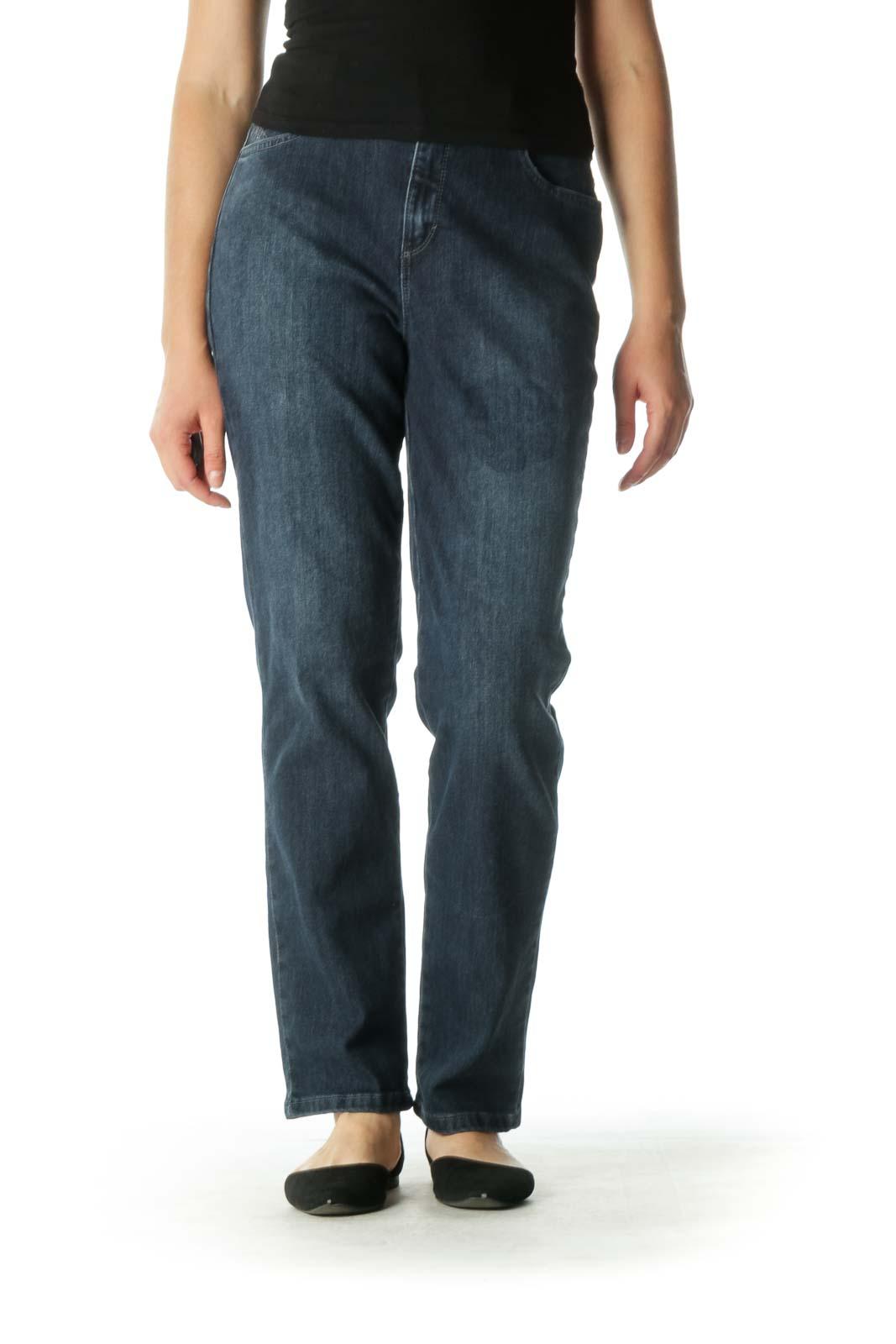 Blue Embellished Tapered Jeans