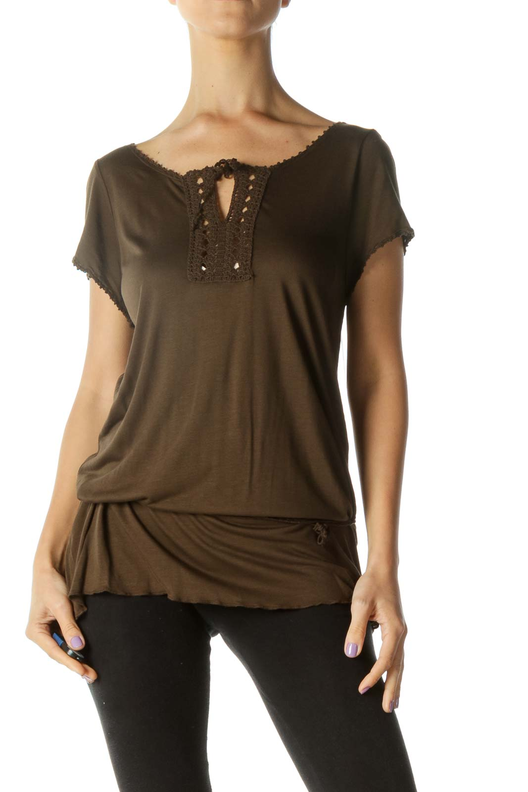 Brown Crochet Detail with String T-Shirt