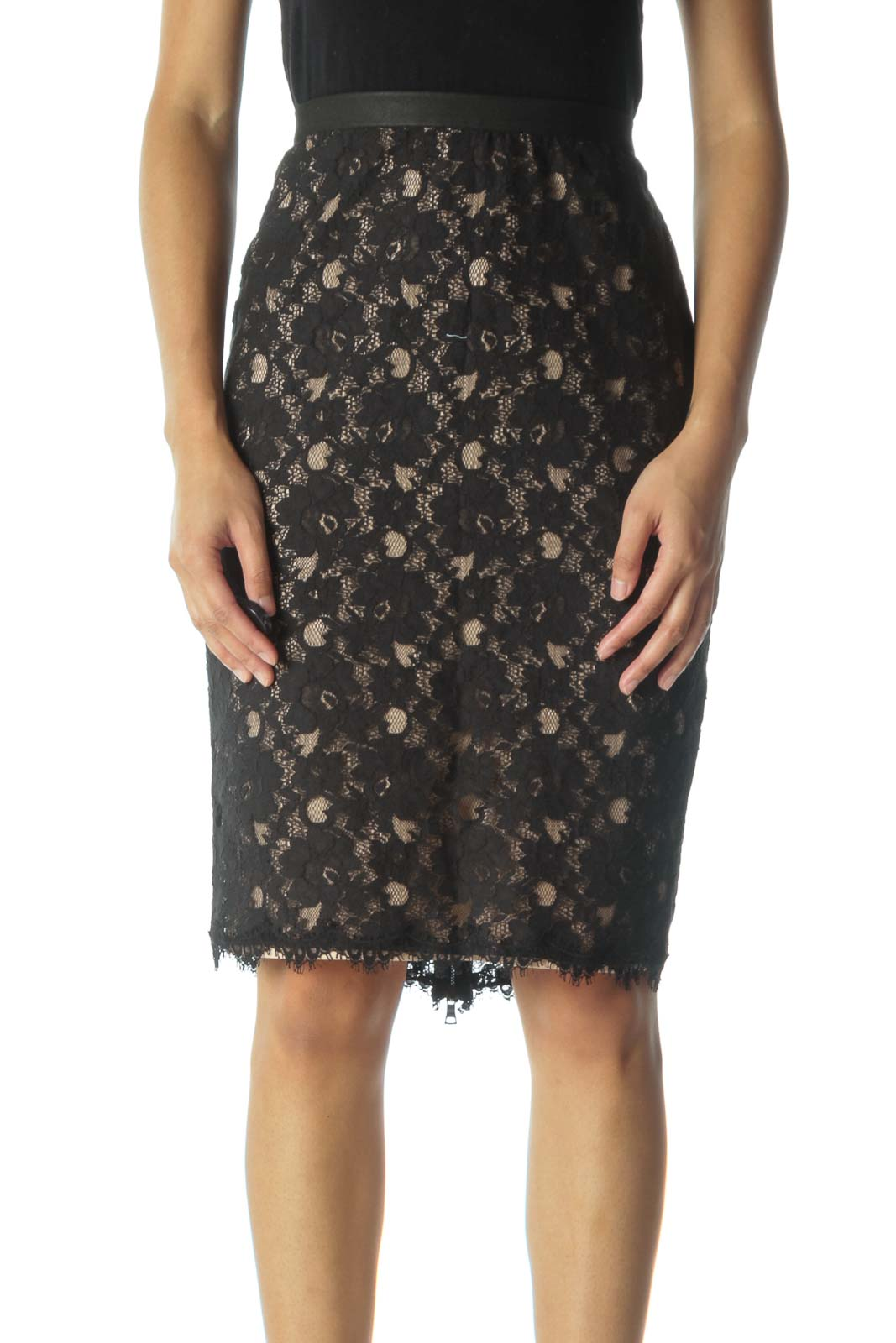 Black and Cream Lace Pencil Skirt