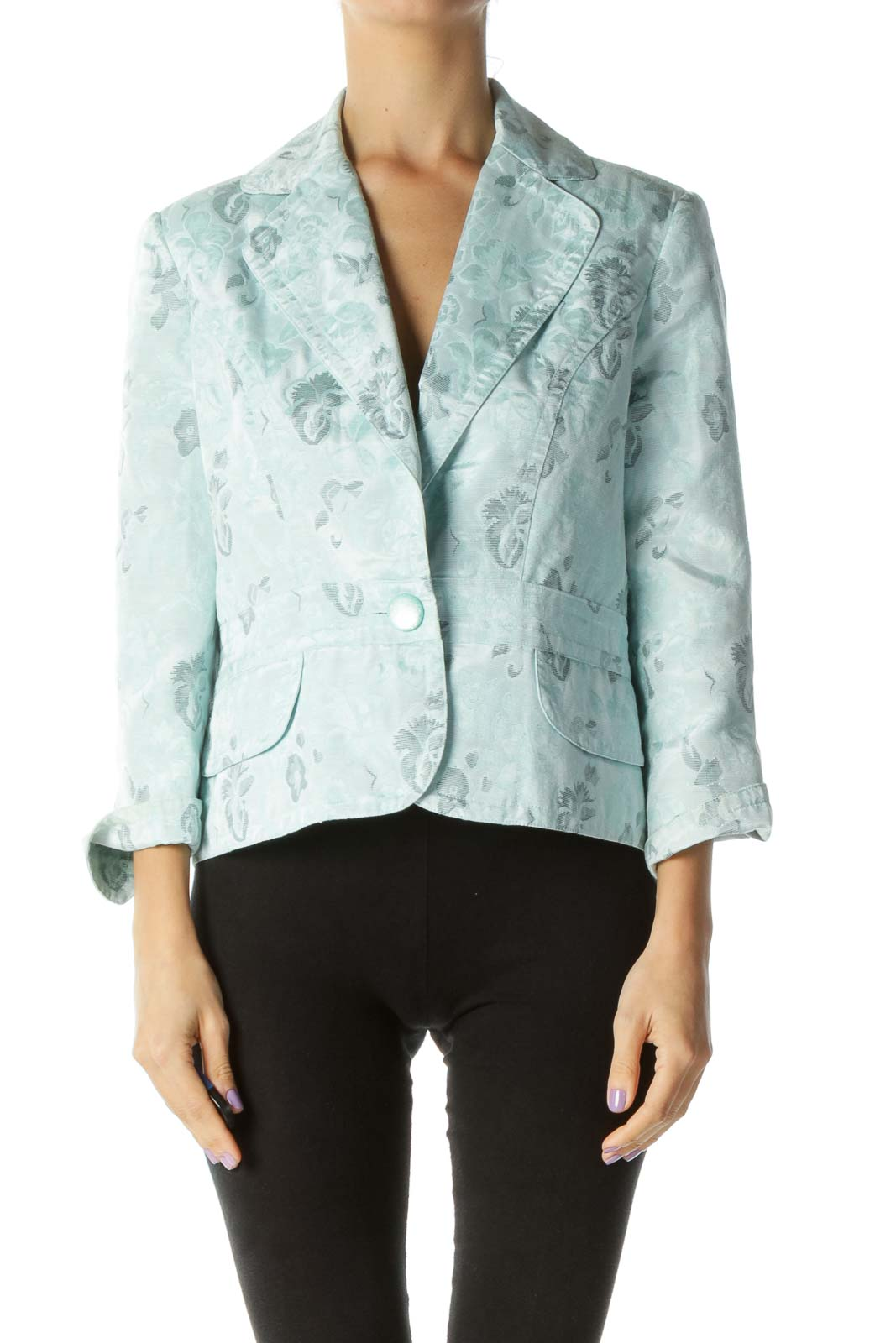 Light Blue Floral Print Blazer