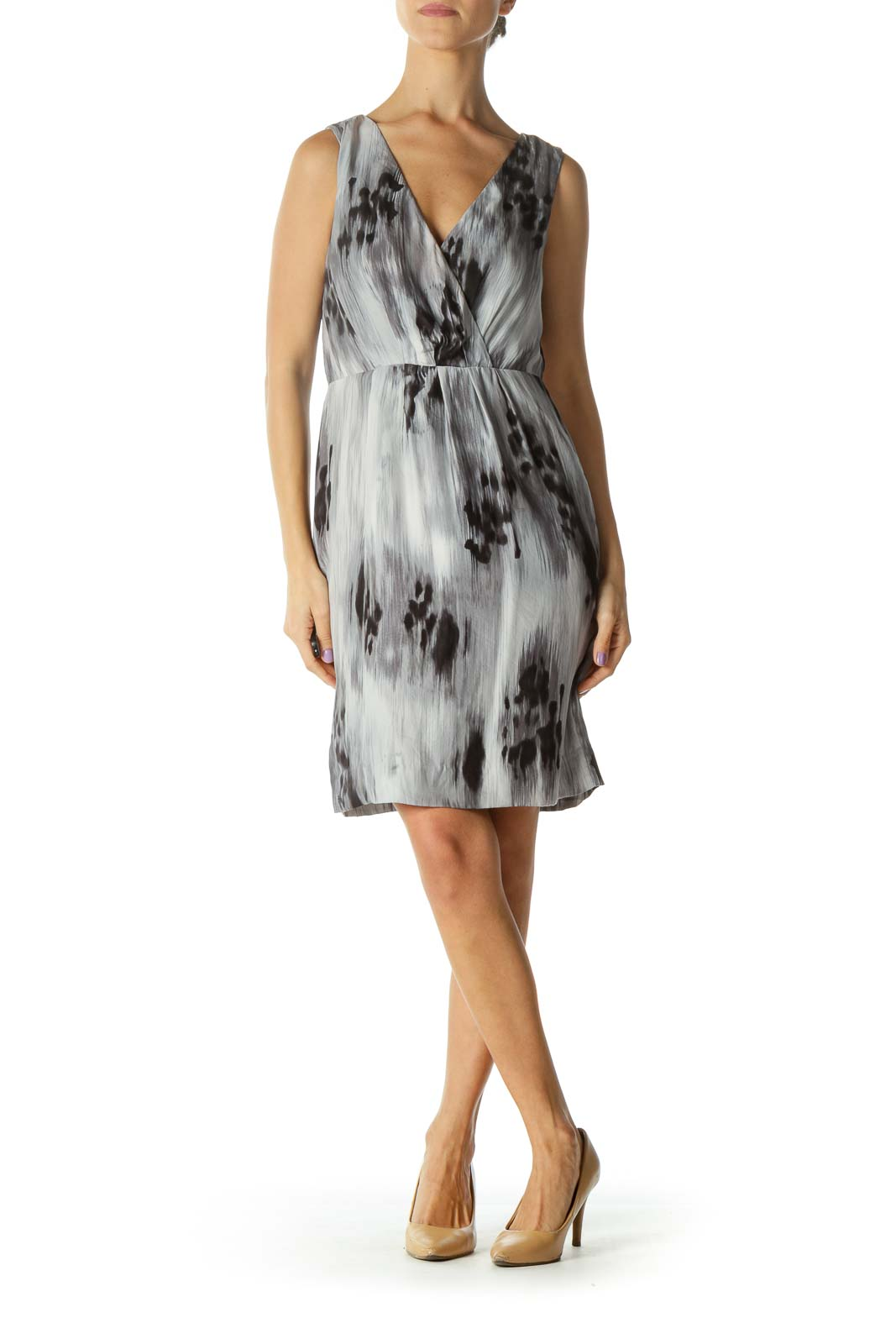 Gray Print V-neck Cocktail Dress