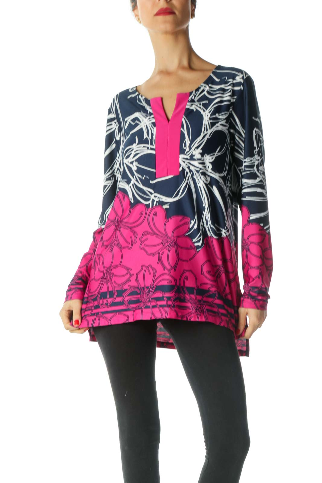 Blue Pink White Floral Print Tunic Top