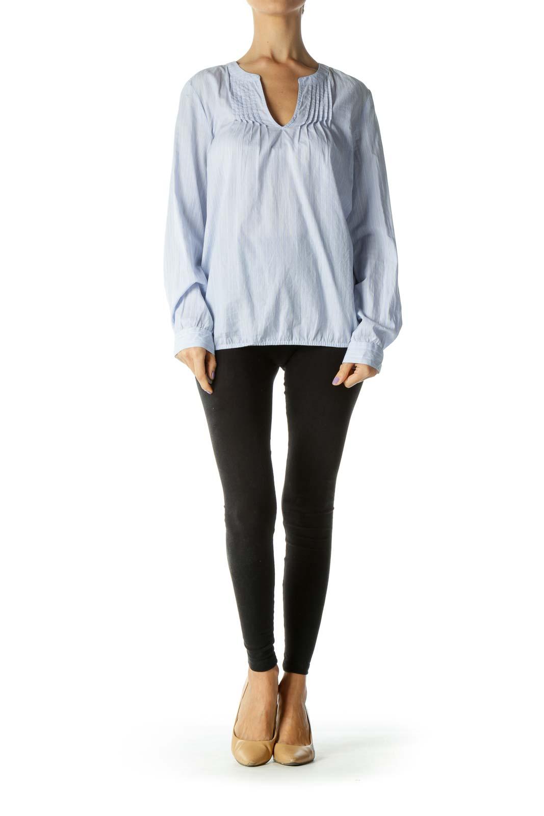 Blue and White Striped V-Neck Blouse