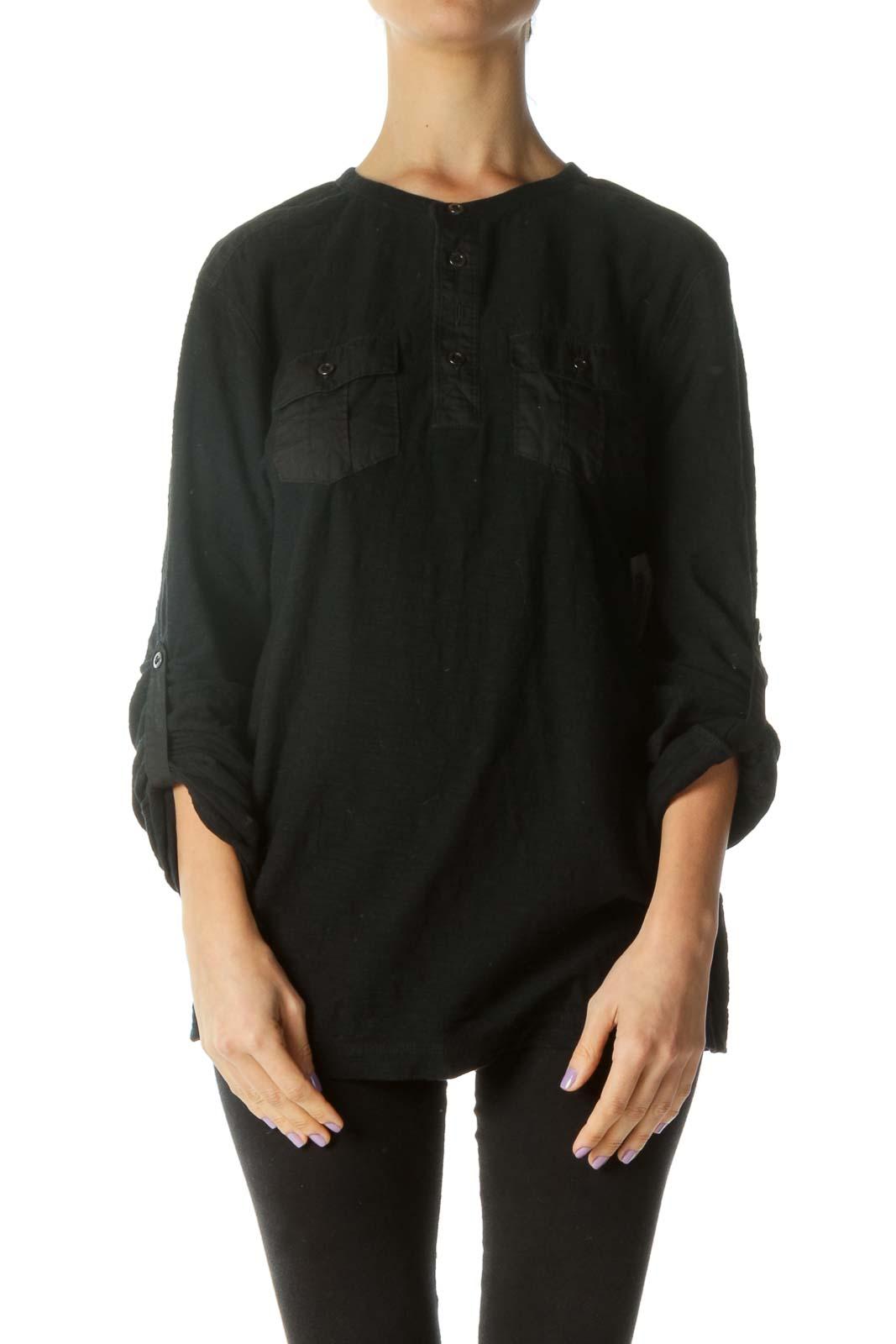 Black Pocketed Long Sleeve Shirt