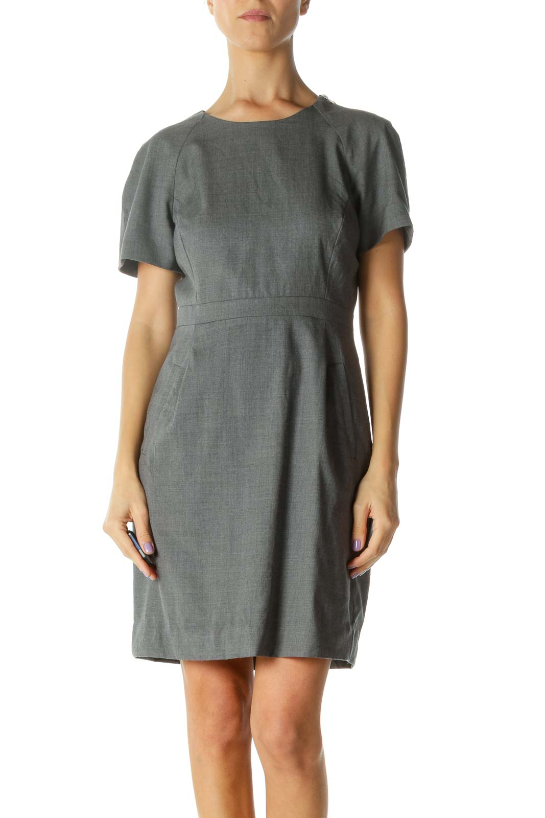 Gray Short Sleeve Work Dress