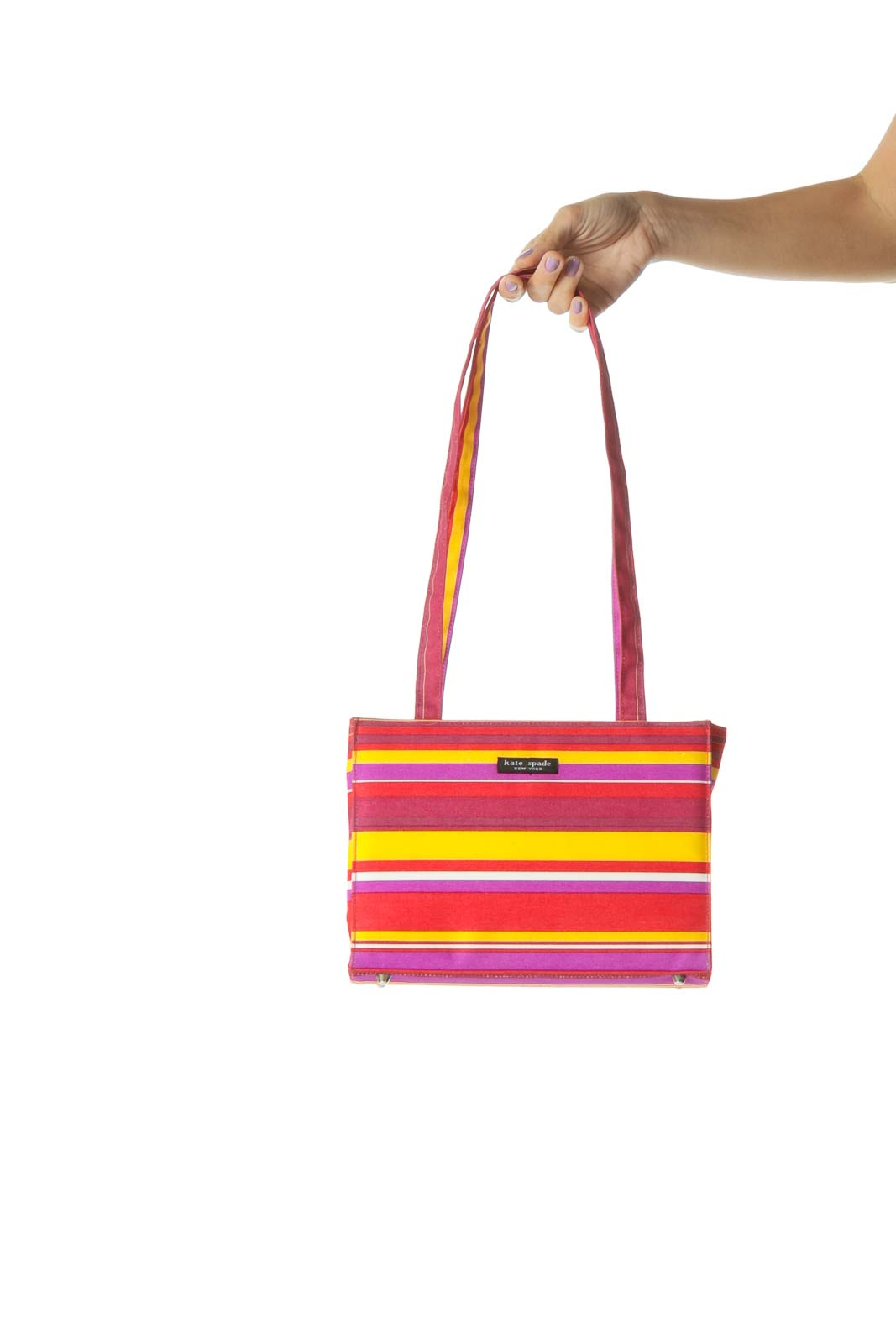 Red and Purple Multicolor Striped Shoulder Bag