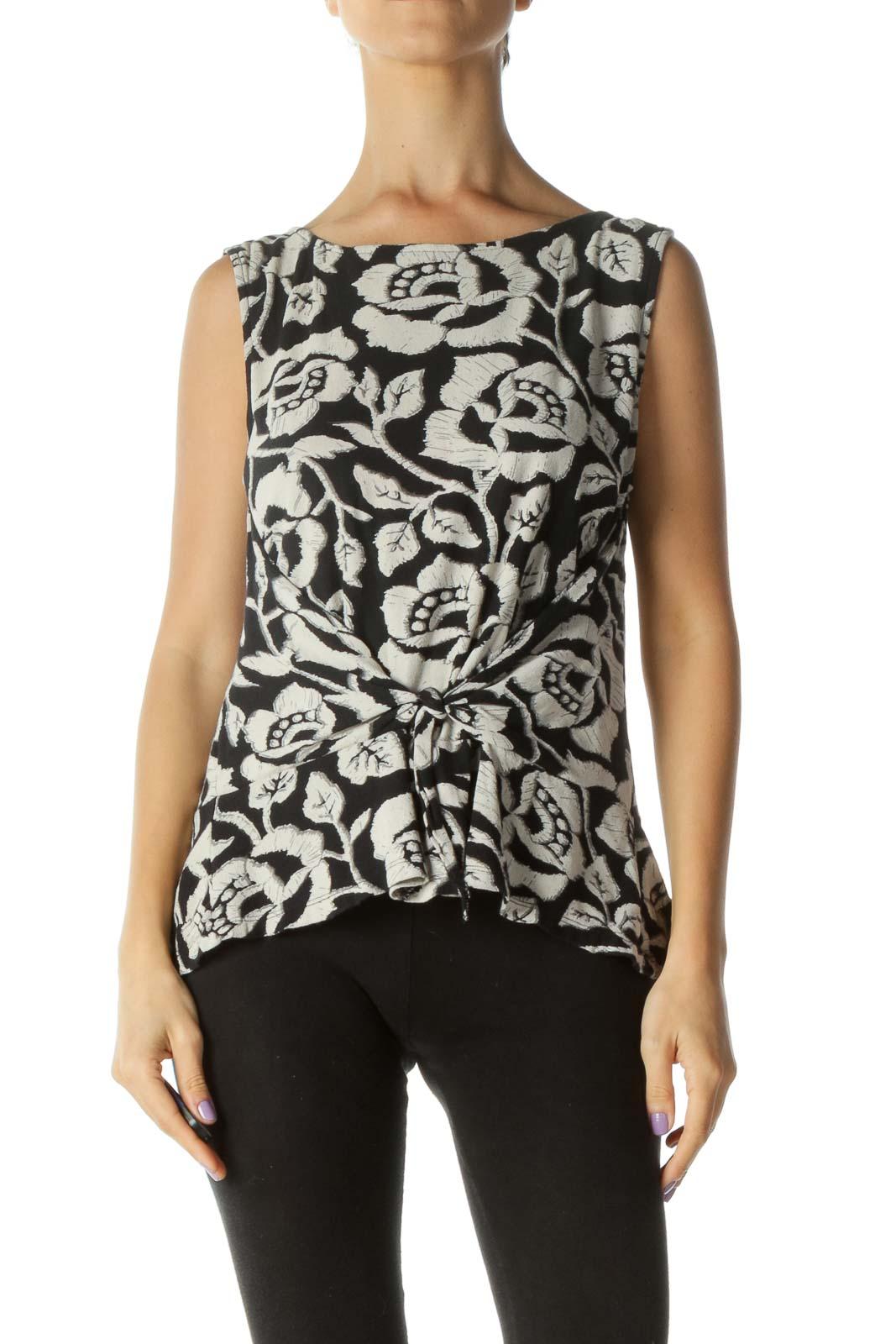 Beige Black Floral Print Knot Detail Tank Top