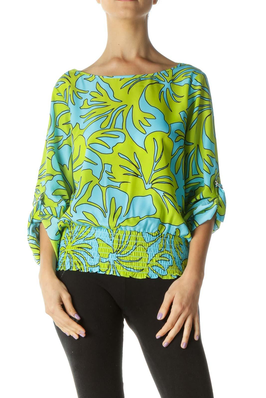 Blue and Green Shirring Waist Blouse