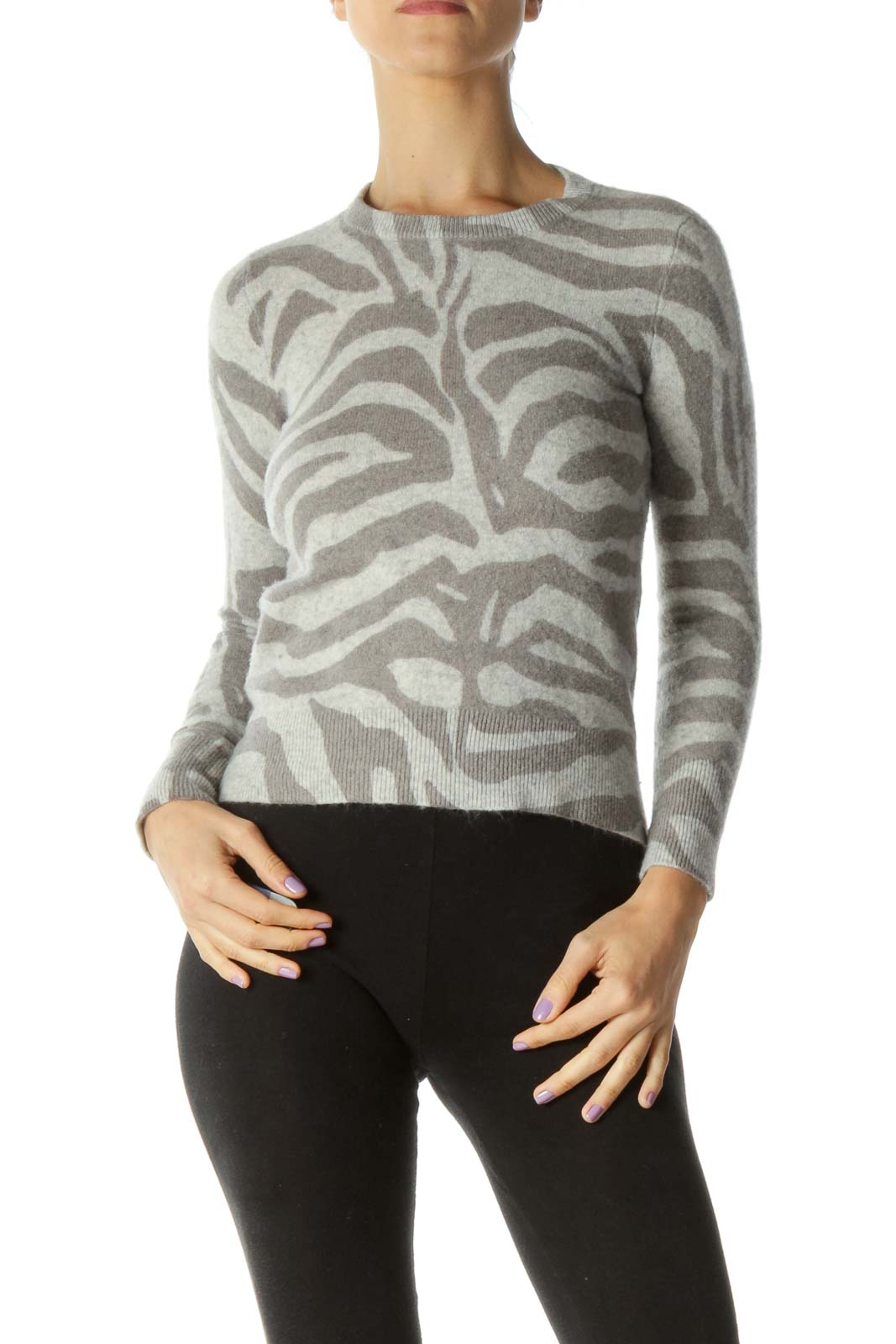 Gray Zebra Print Cashmere Sweater
