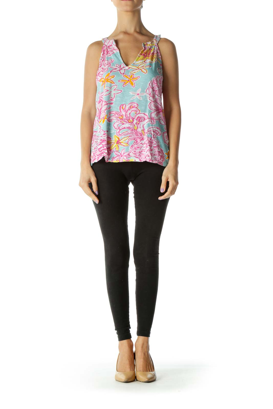 Blue and Pink Multicolor Floral Print Tank Top