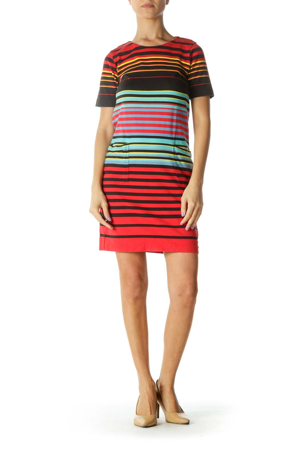 Red Multicolor Striped Shift Dress
