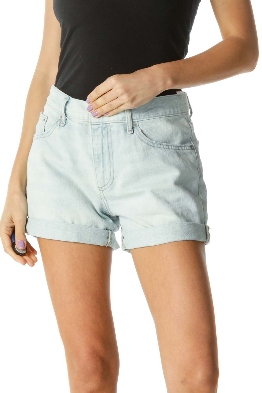 Blue Light Wash Denim Boyfriend Shorts