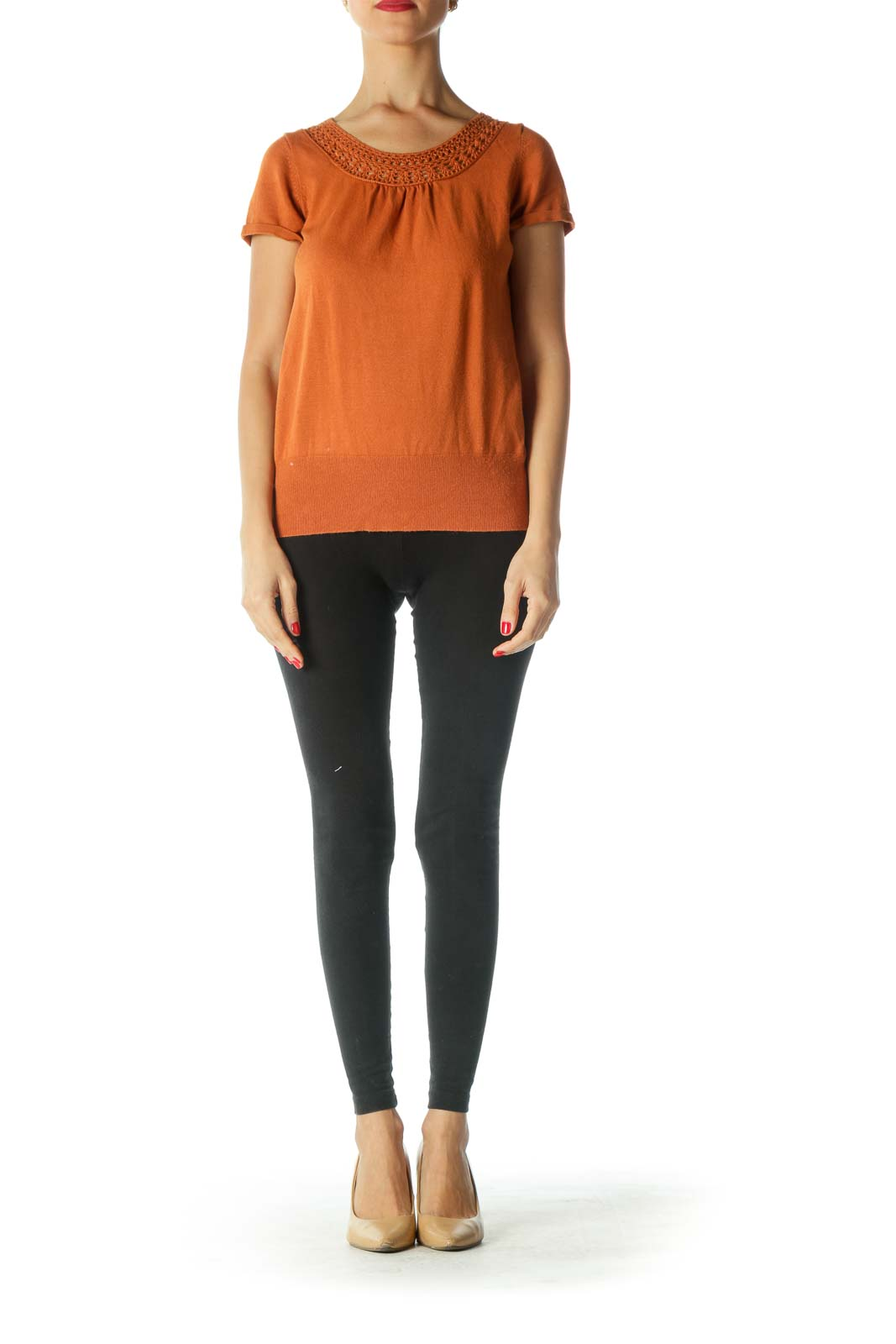 Orange Short Sleeve Knit