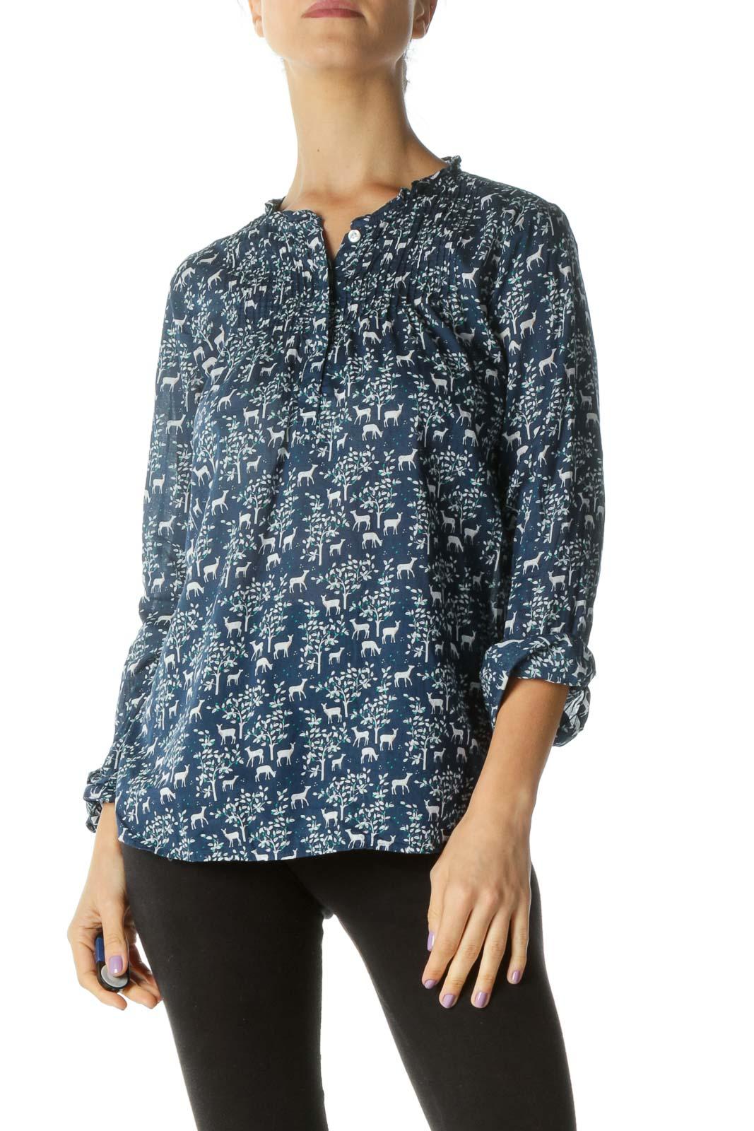 Blue White Deer Print V-Neck Buttoned Shirt