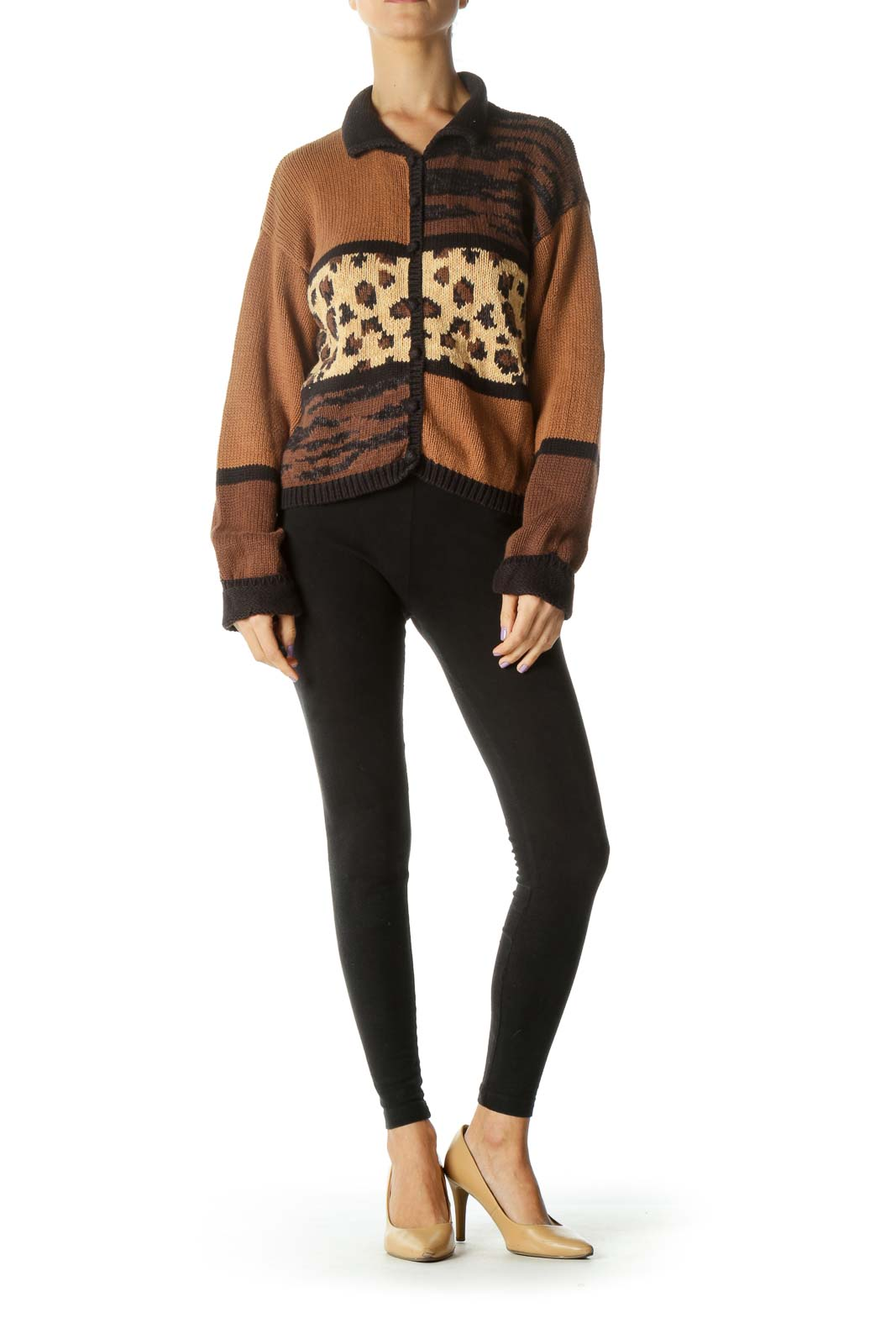 Brown Cheetah Print Knit Sweater