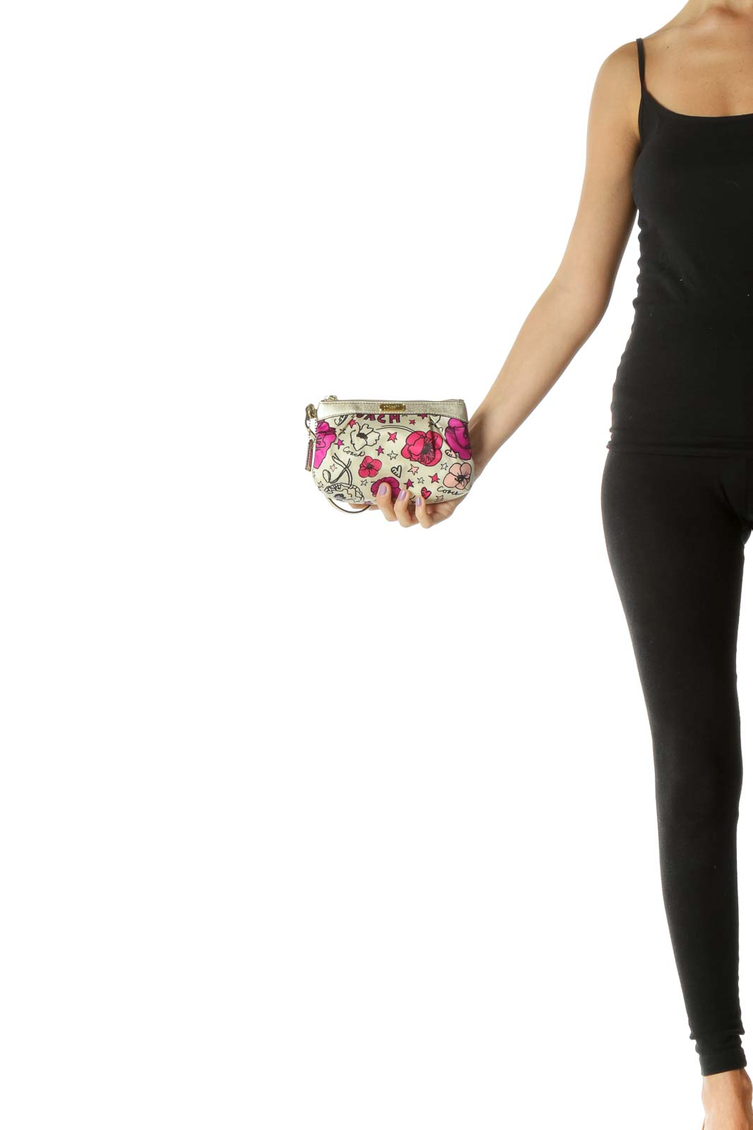 Gold and Pink Floral Print Clutch